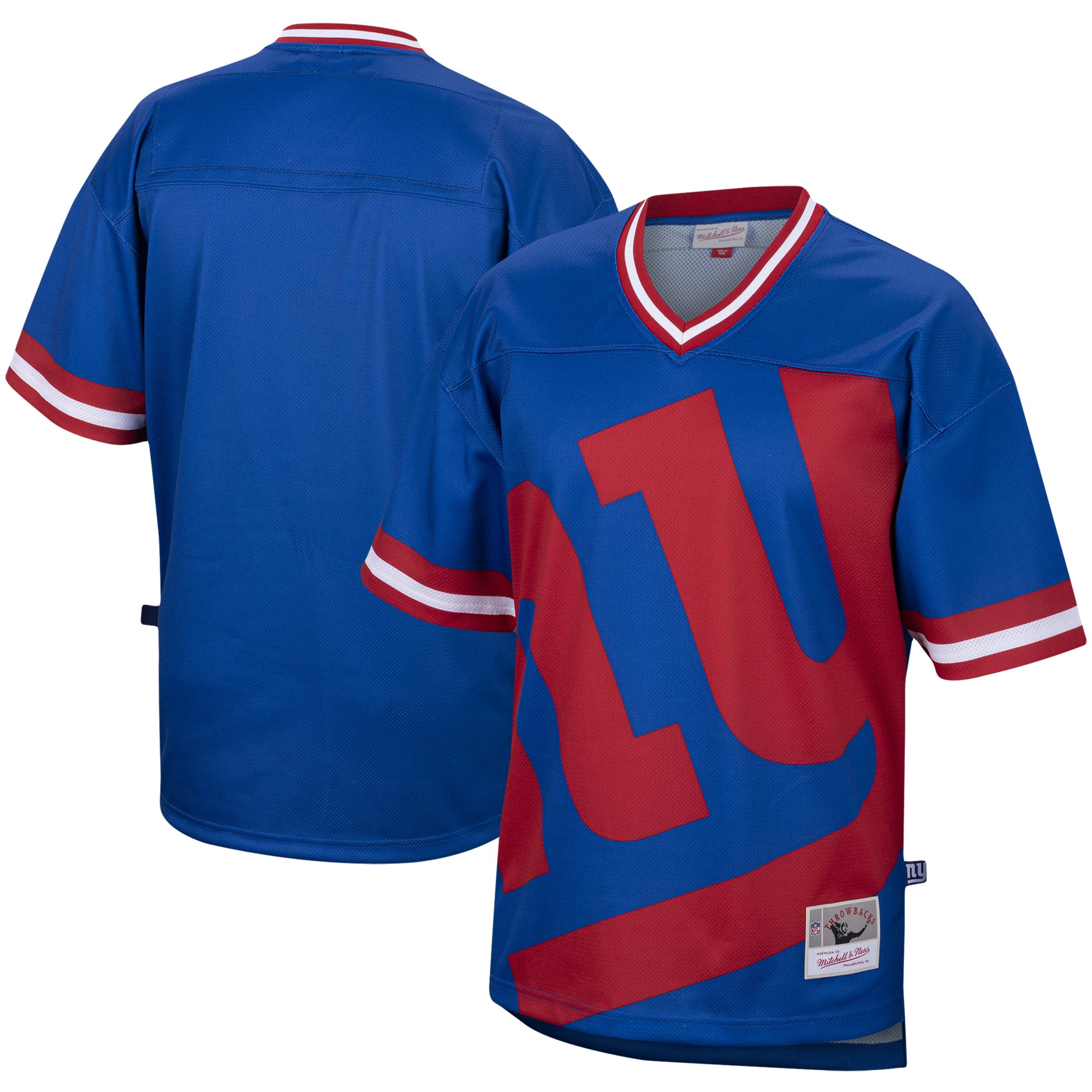 New York Giants Mitchell & Ness Big Face Historic Logo V-Neck T-Shirt - Royal