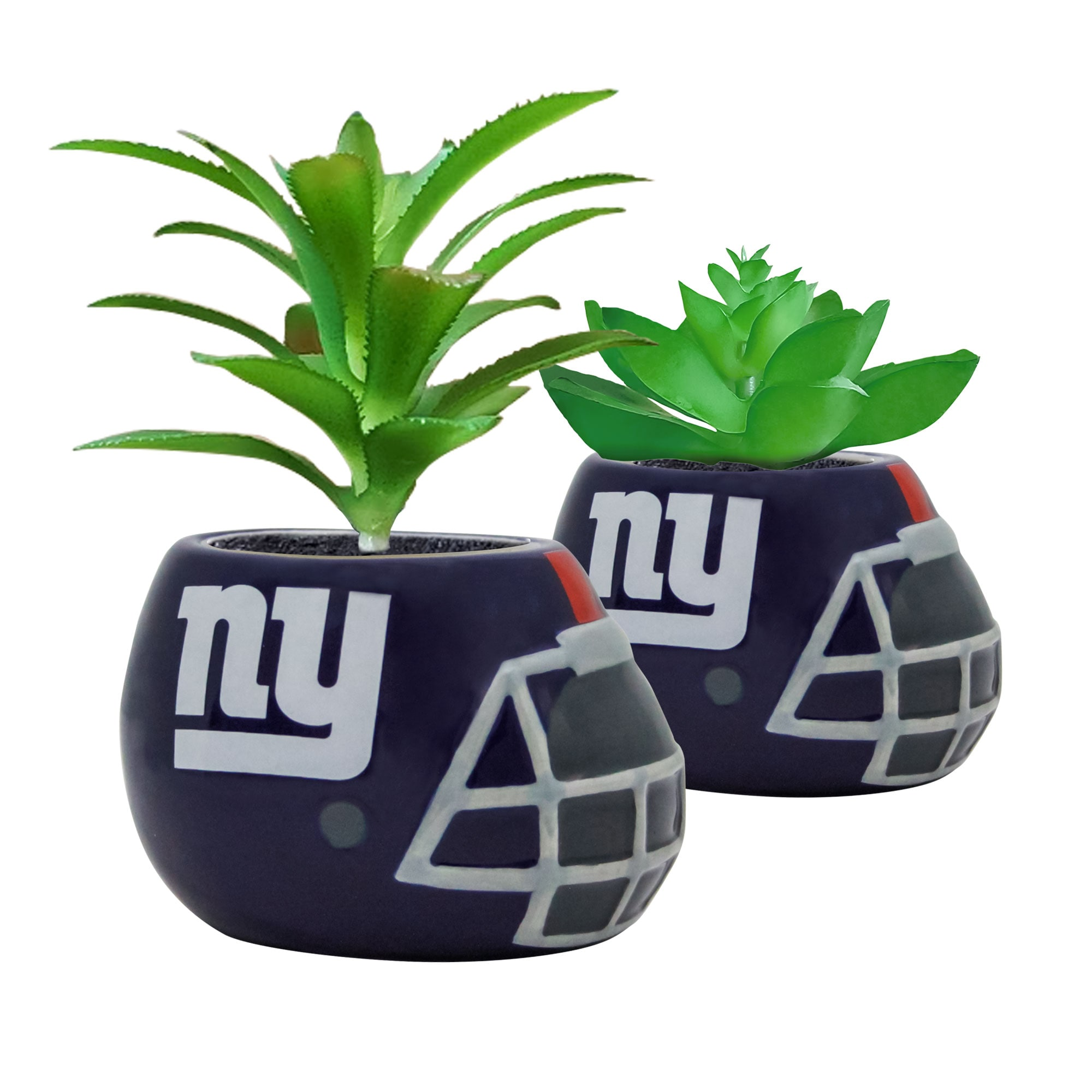 New York Giants 2-Piece Ceramic Helmet with Faux Succulent Set