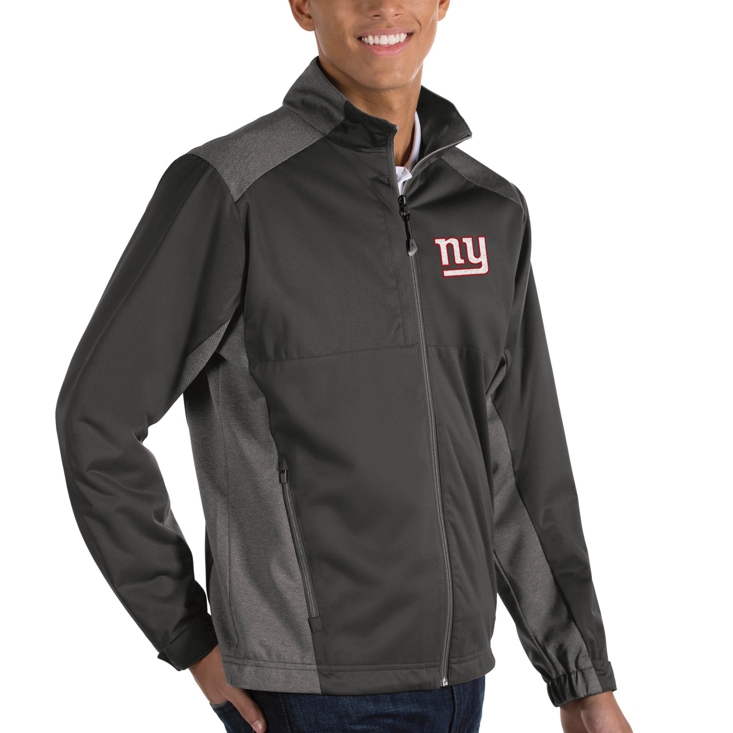 New York Giants Antigua Revolve Big & Tall Full-Zip Jacket - Heather Charcoal