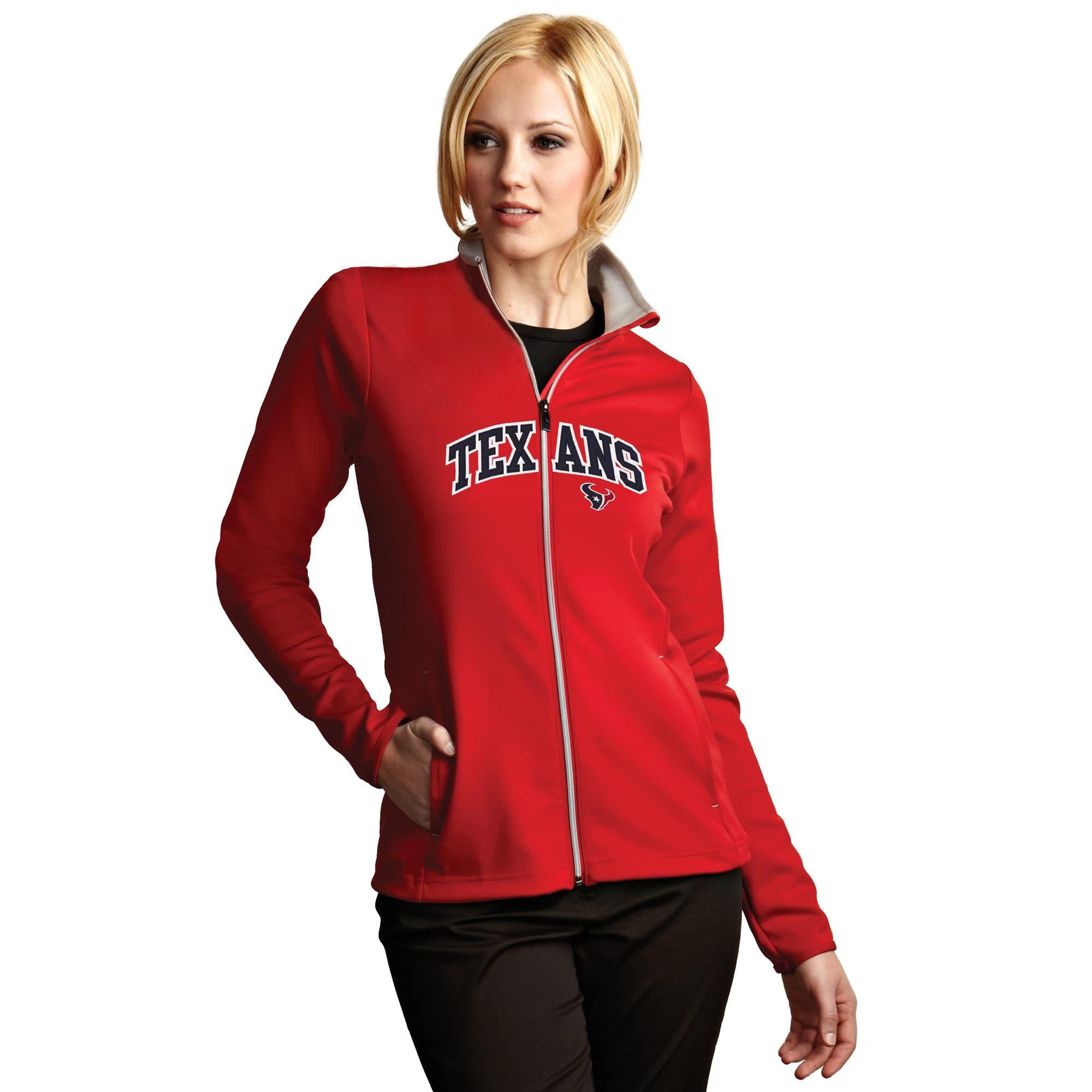 Houston Texans Antigua Women's Leader Full Chest Graphic Desert Dry Full-Zip Jacket - Red