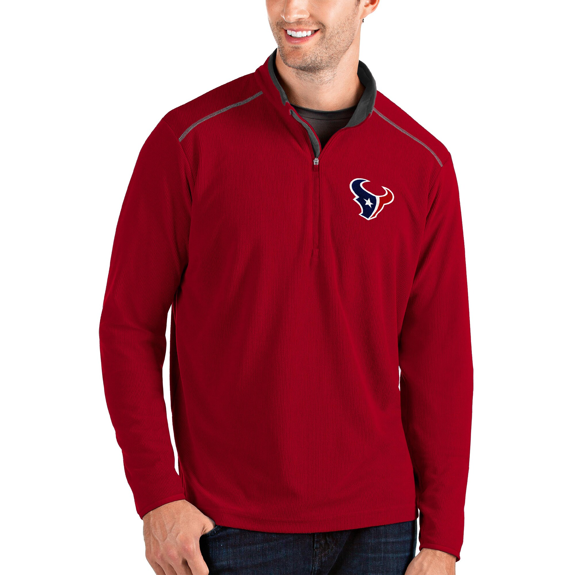 Houston Texans Antigua Glacier Quarter-Zip Pullover Jacket - Red/Gray