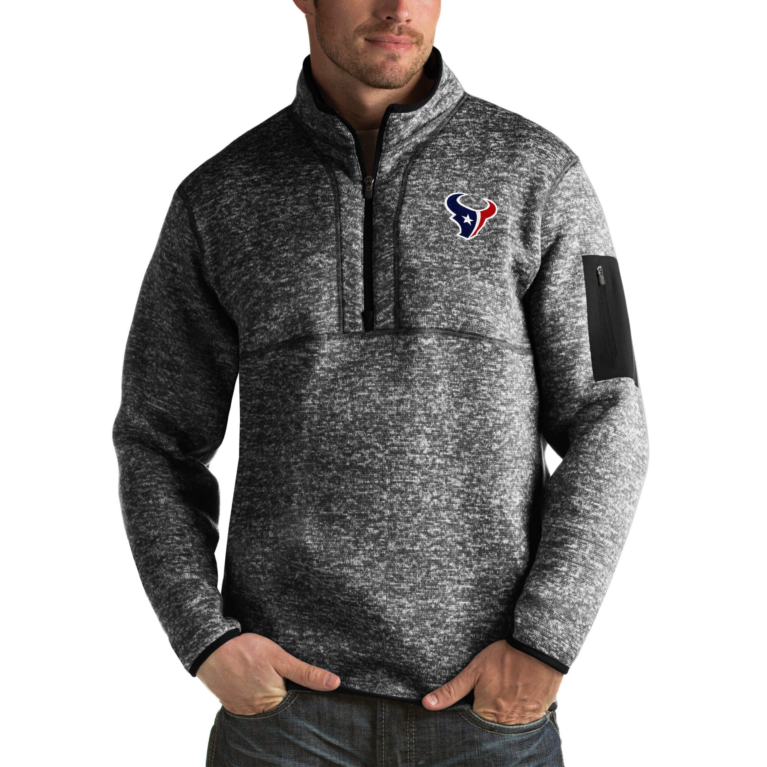Houston Texans Antigua Fortune Big & Tall Quarter-Zip Pullover Jacket - Heather Black