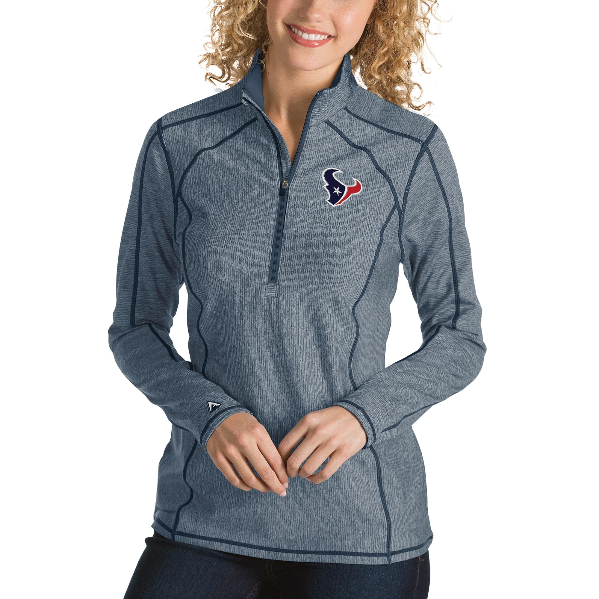 Houston Texans Antigua Women's Tempo Desert Dry Quarter-Zip Jacket - Heather Navy