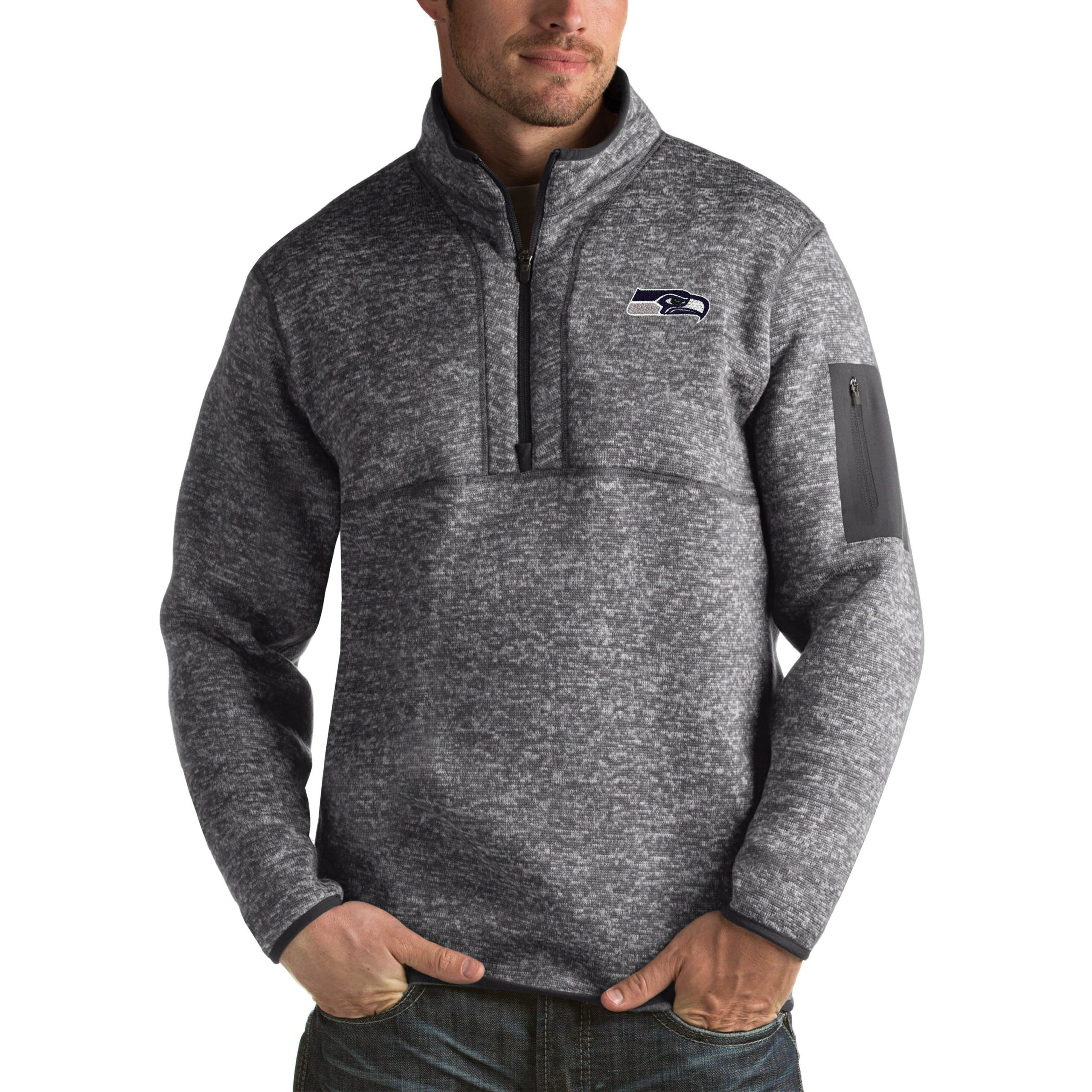 Seattle Seahawks Antigua Fortune Big & Tall Quarter-Zip Pullover Jacket - Charcoal