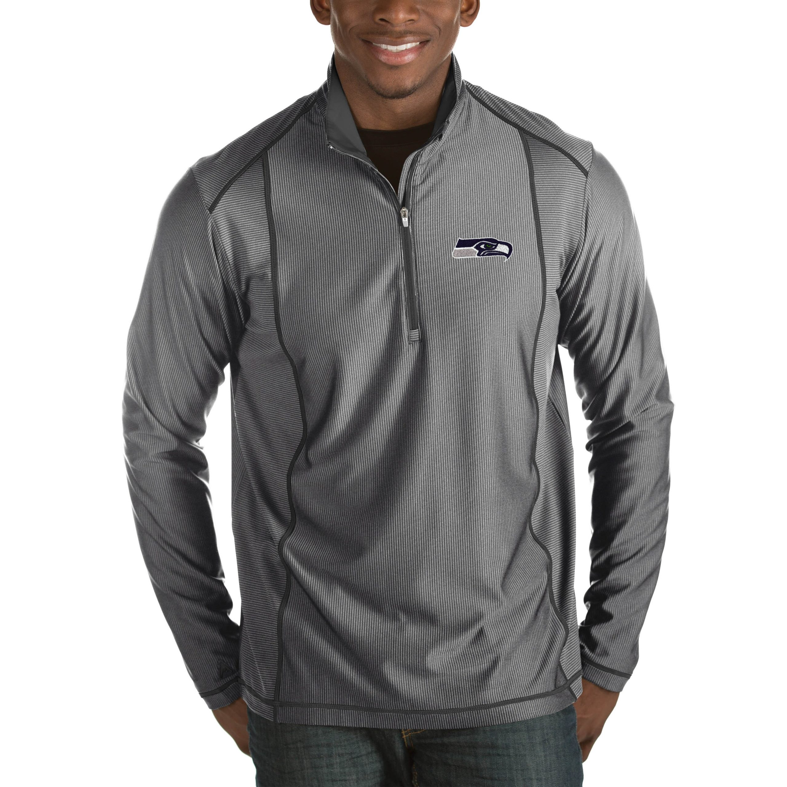 Seattle Seahawks Antigua Tempo Big & Tall Half-Zip Pullover Jacket - Heather Charcoal