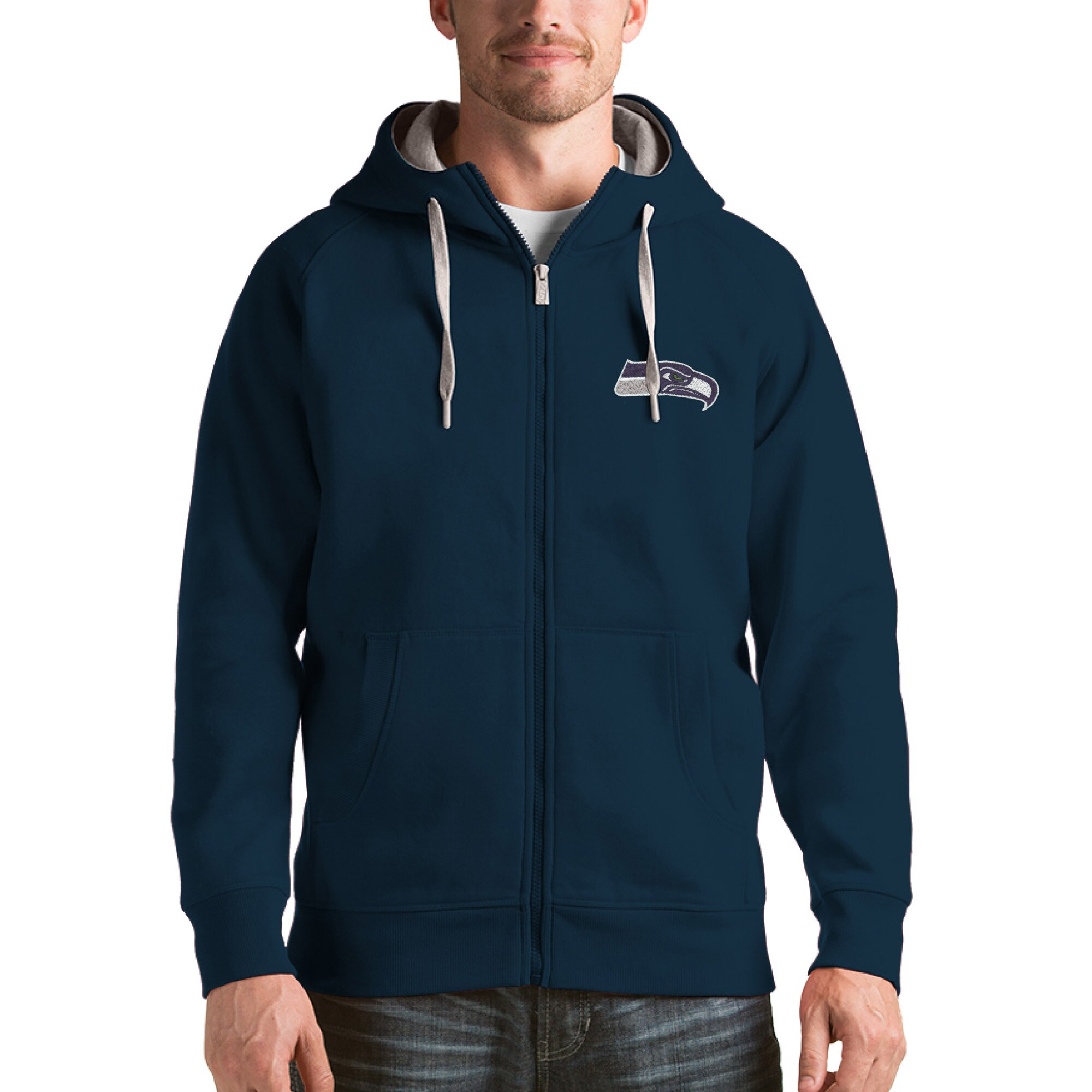 Seattle Seahawks Antigua Victory Full-Zip Hoodie - College Navy