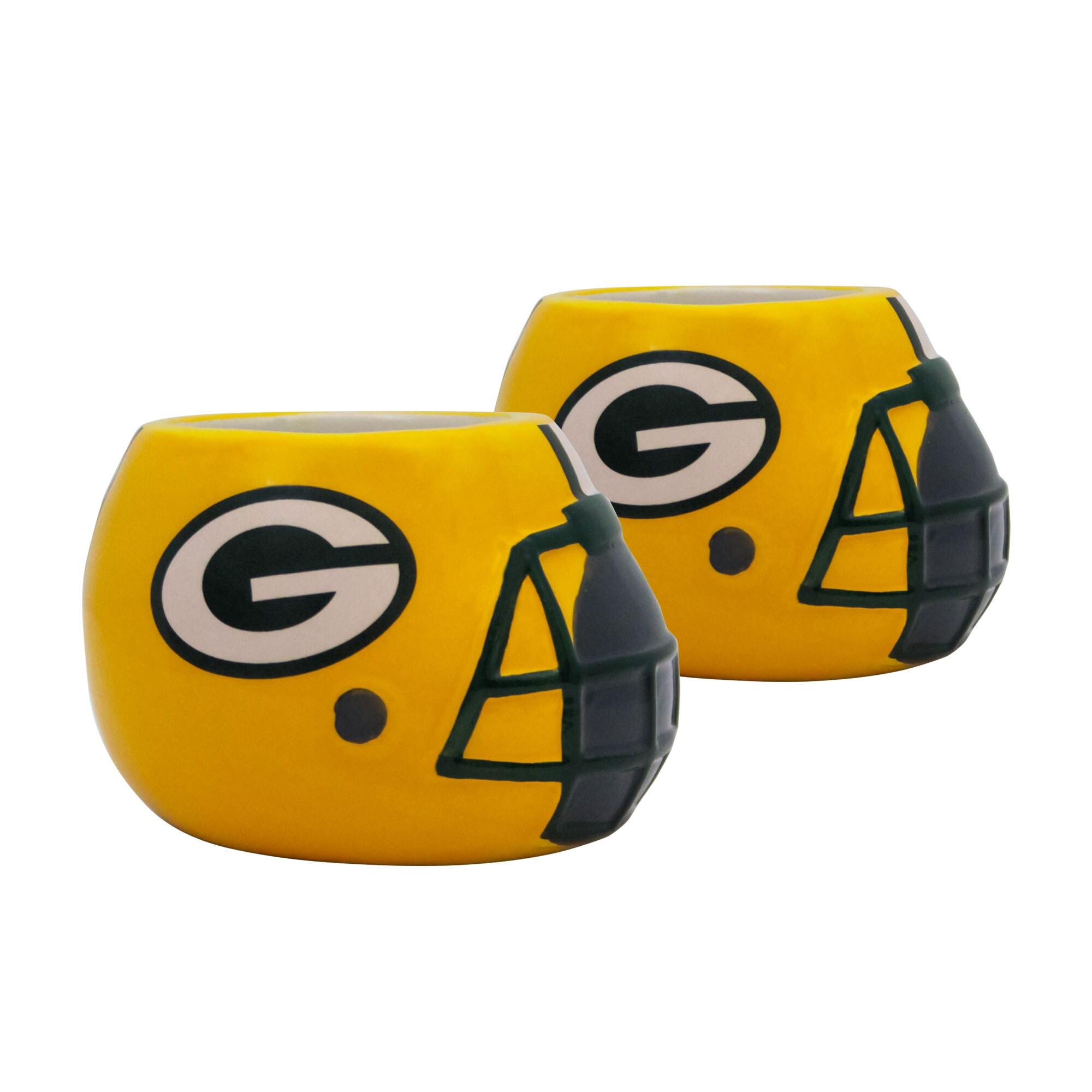 Green Bay Packers 2-Piece Ceramic Helmet Planter Set