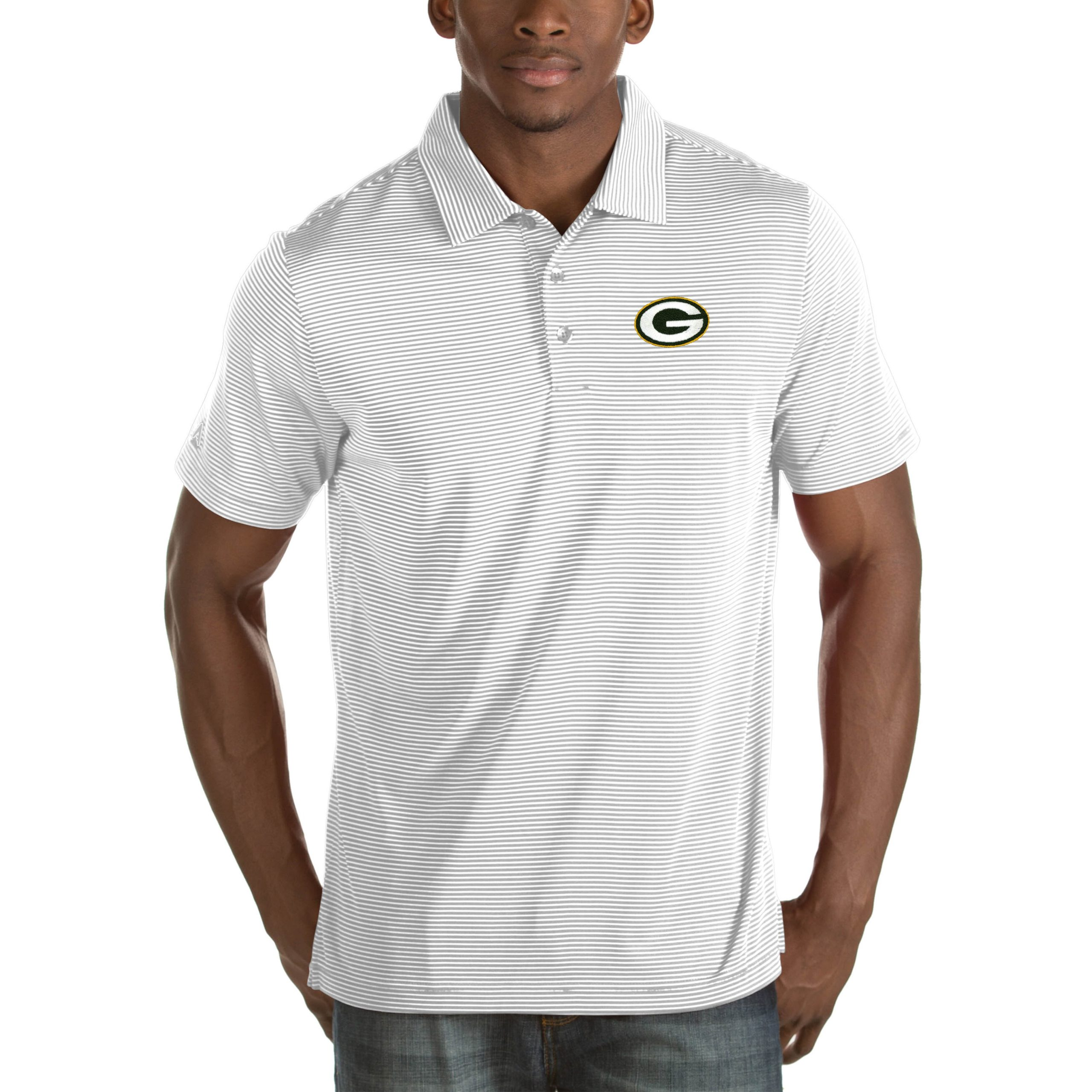 Green Bay Packers Antigua Quest Big & Tall Polo - White