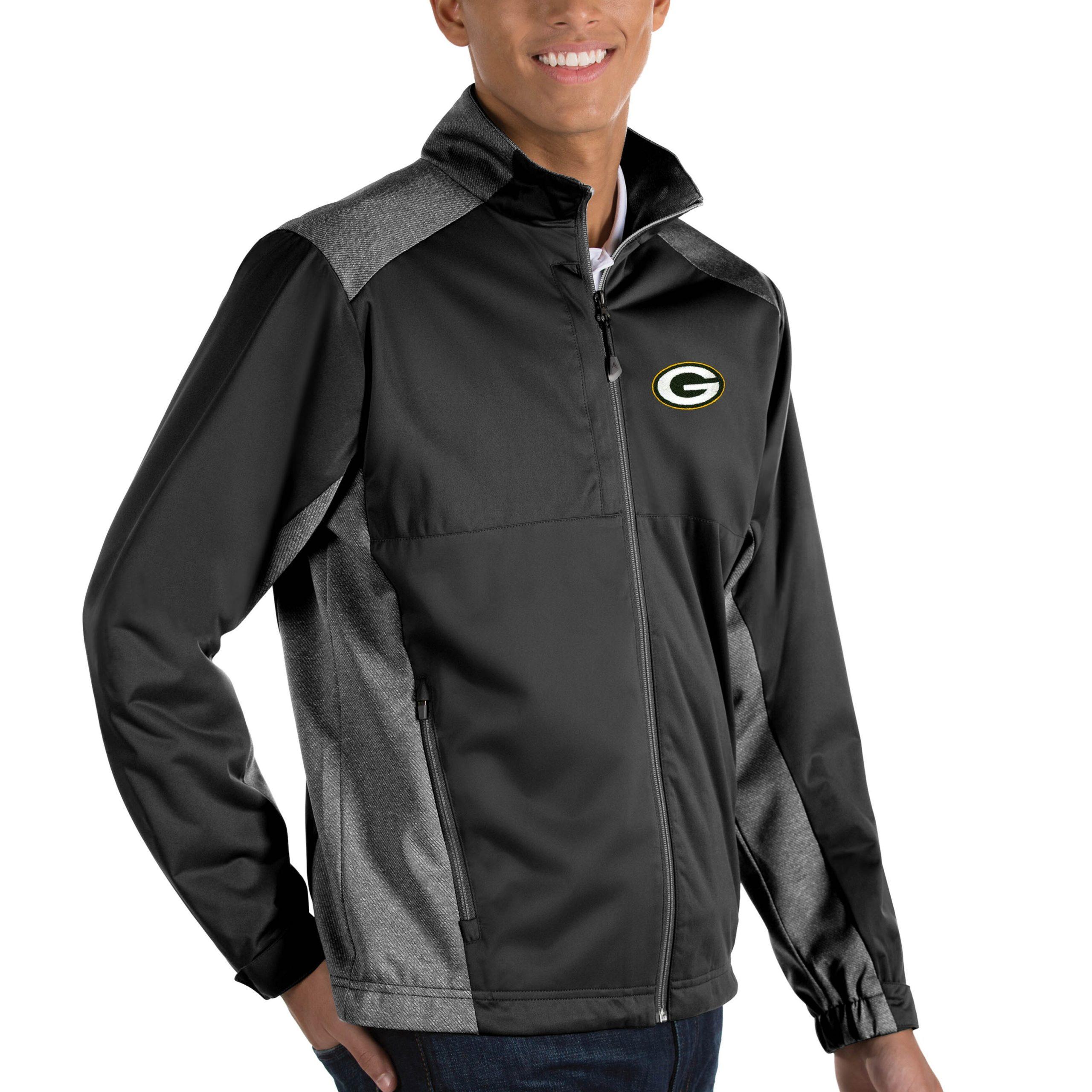 Green Bay Packers Antigua Revolve Big & Tall Full-Zip Jacket - Heather Black