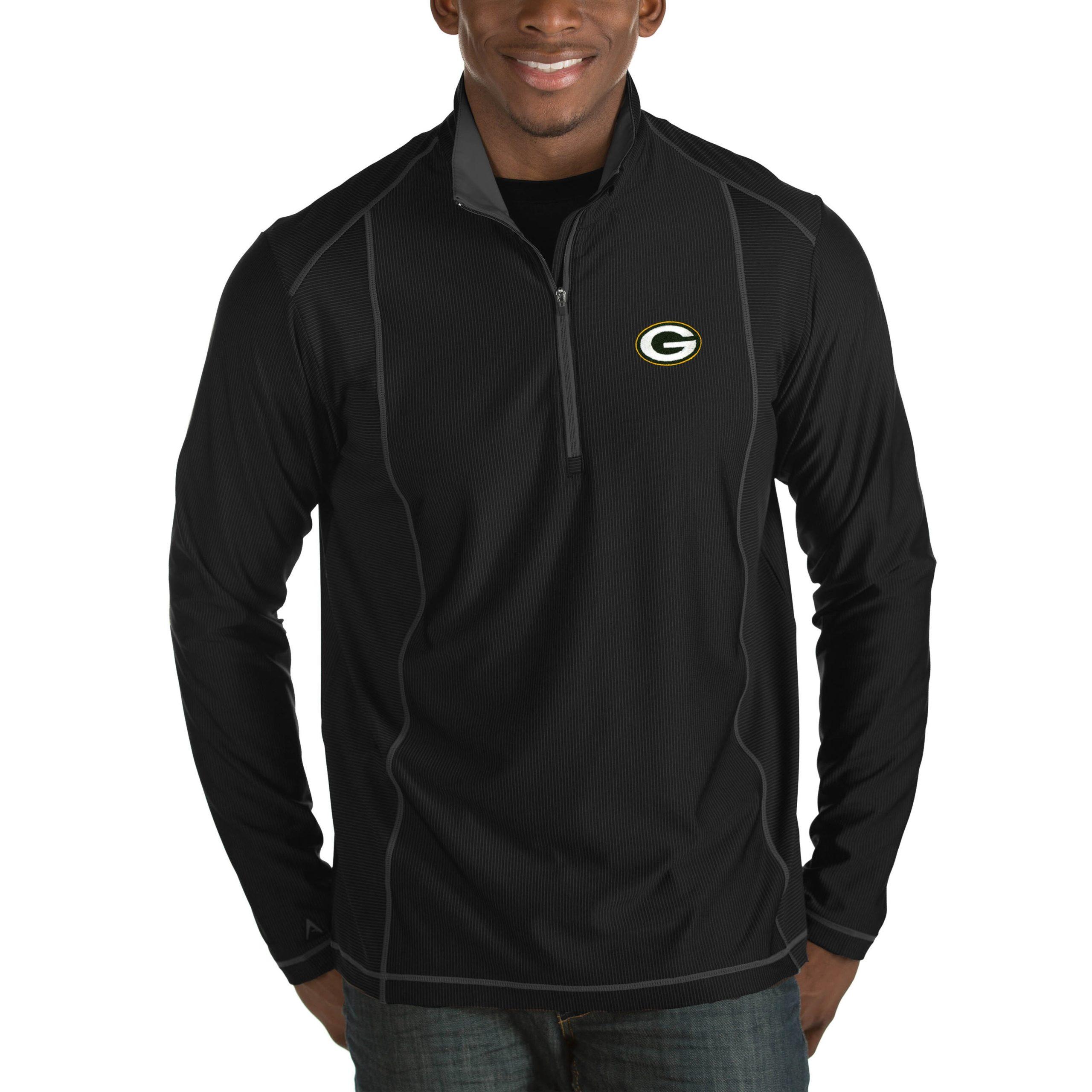 Green Bay Packers Antigua Tempo Big & Tall Half-Zip Pullover Jacket - Heather Black