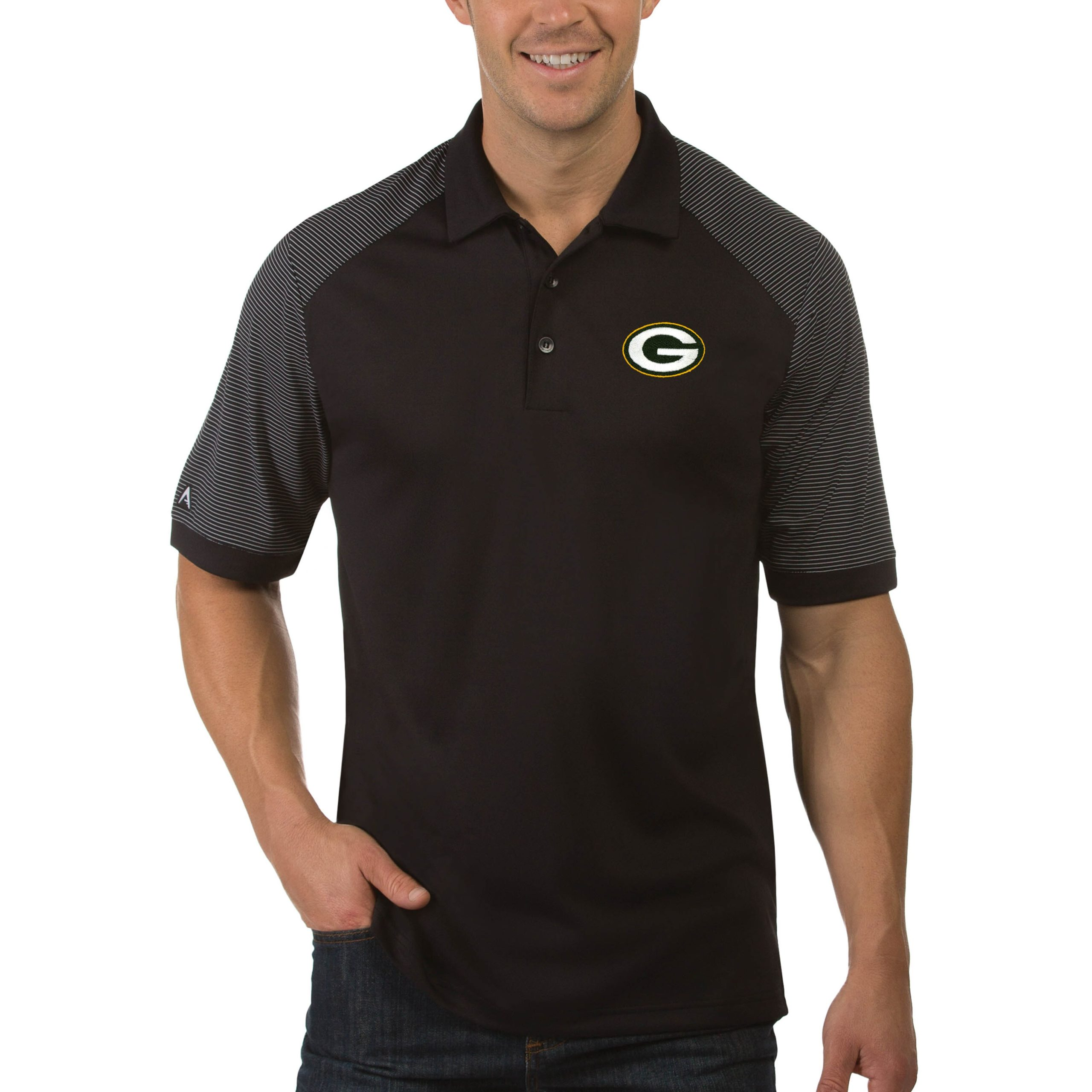 Green Bay Packers Antigua Engage Big & Tall Polo - Black