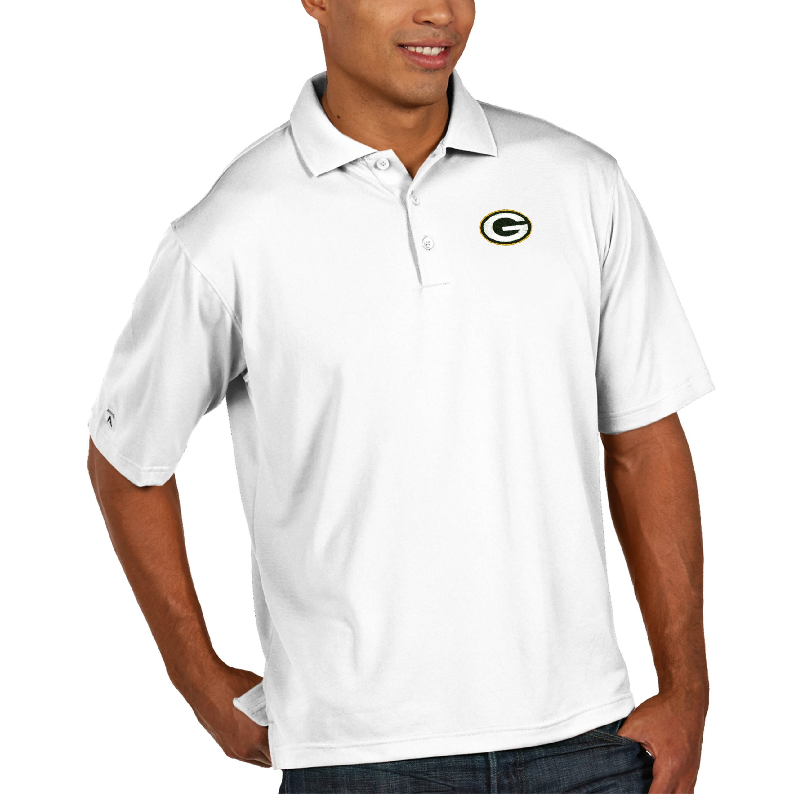 Green Bay Packers Antigua Pique Xtra Lite Big & Tall Polo - White
