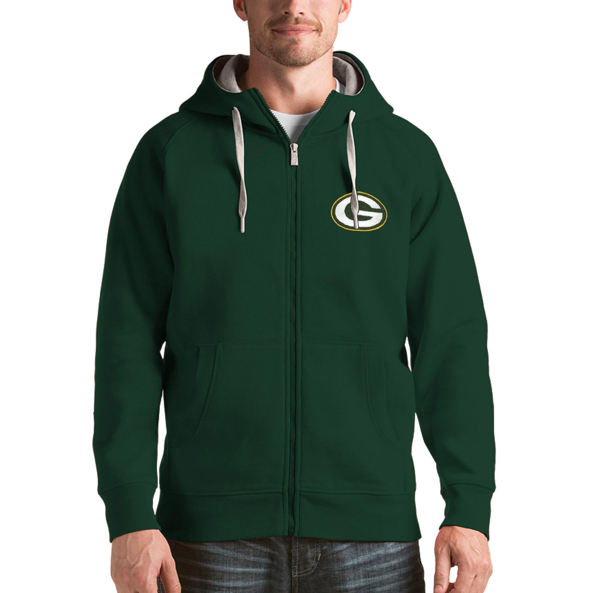 Green Bay Packers Antigua Victory Full-Zip Hoodie - Green