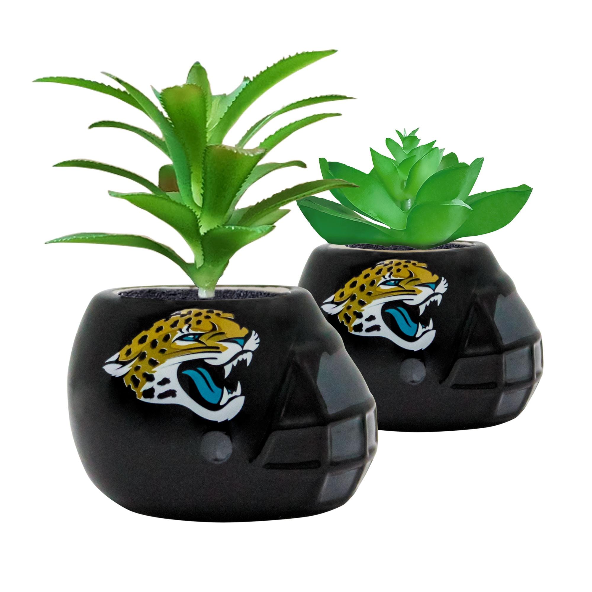 Jacksonville Jaguars 2-Piece Ceramic Helmet with Faux Succulent Set