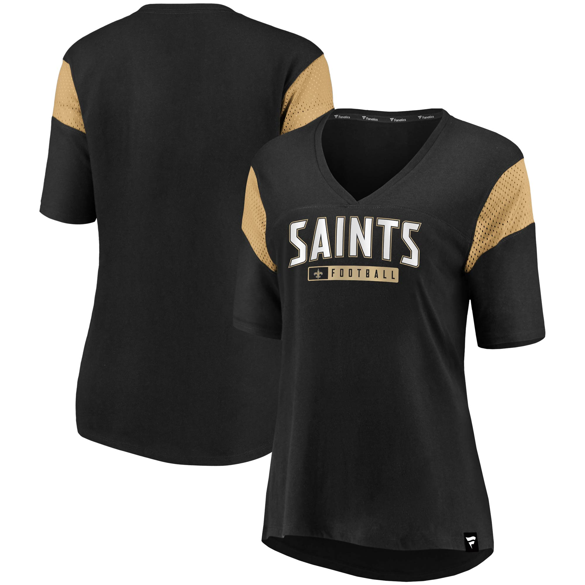 New Orleans Saints NFL Pro Line by Fanatics Branded Women's Iconic Mesh Piecing V-Neck T-Shirt - Black