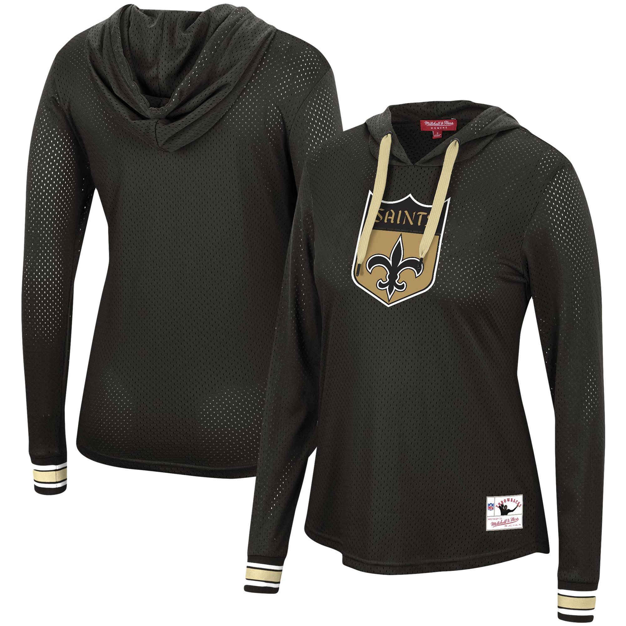 New Orleans Saints Mitchell & Ness Women's Historic Logo Mesh Hoodie Long Sleeve T-Shirt - Black
