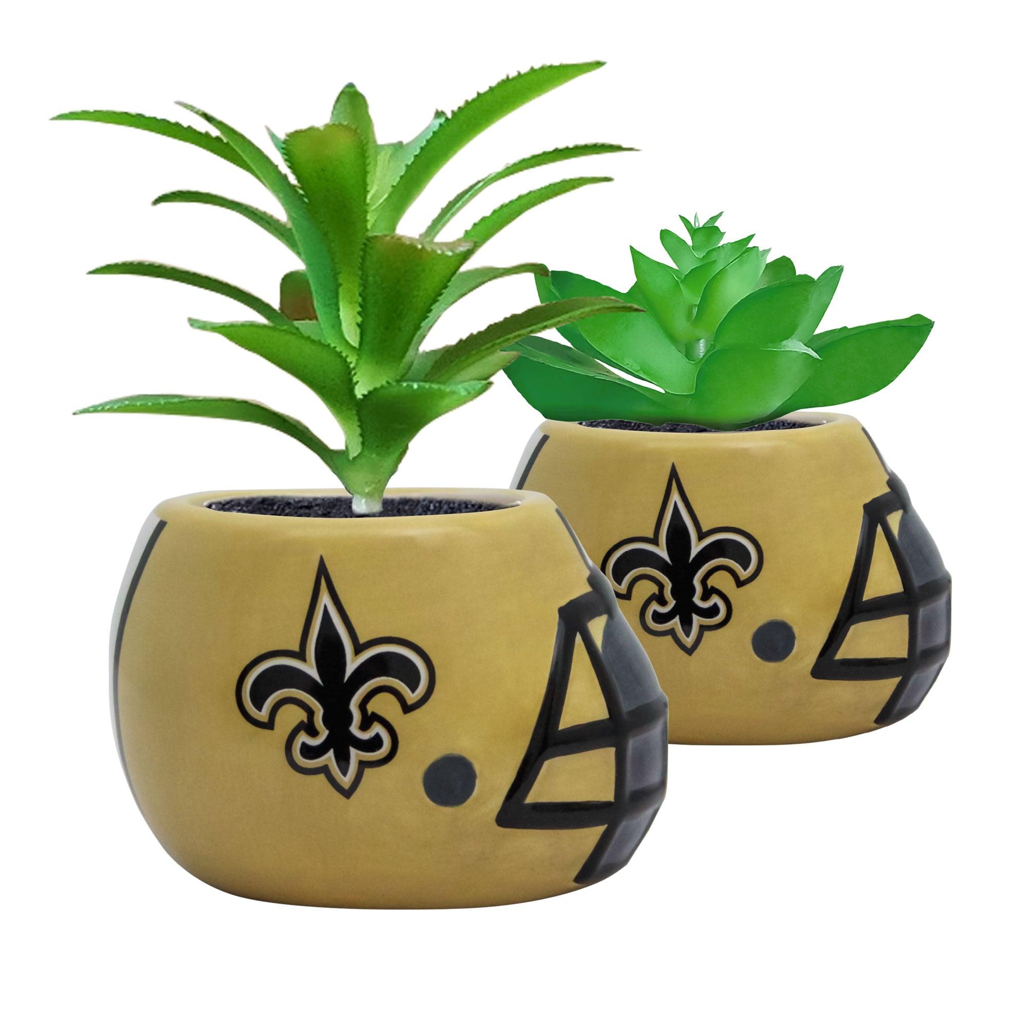 New Orleans Saints 2-Piece Ceramic Helmet with Faux Succulent Set