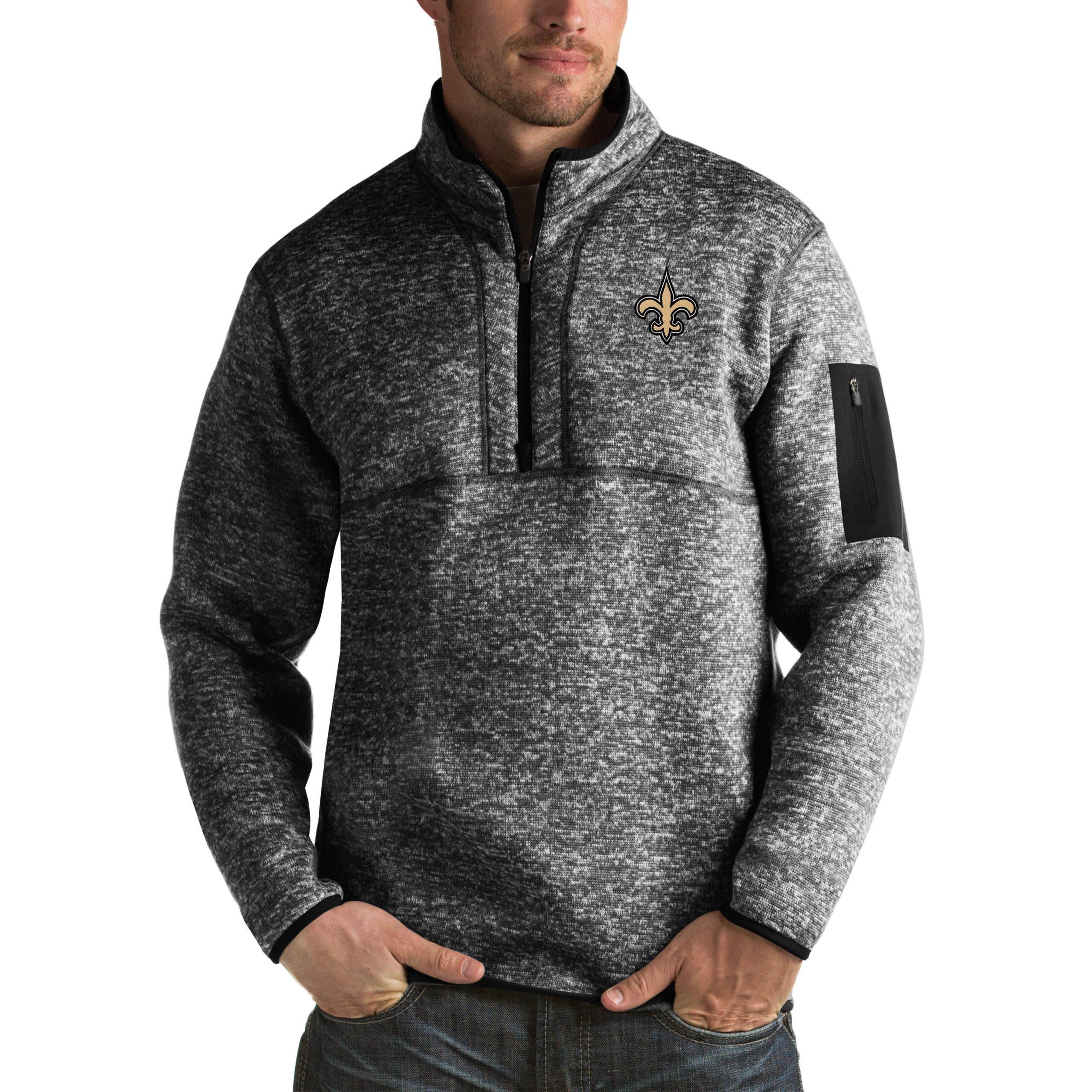 New Orleans Saints Antigua Fortune Big & Tall Quarter-Zip Pullover Jacket - Heather Black
