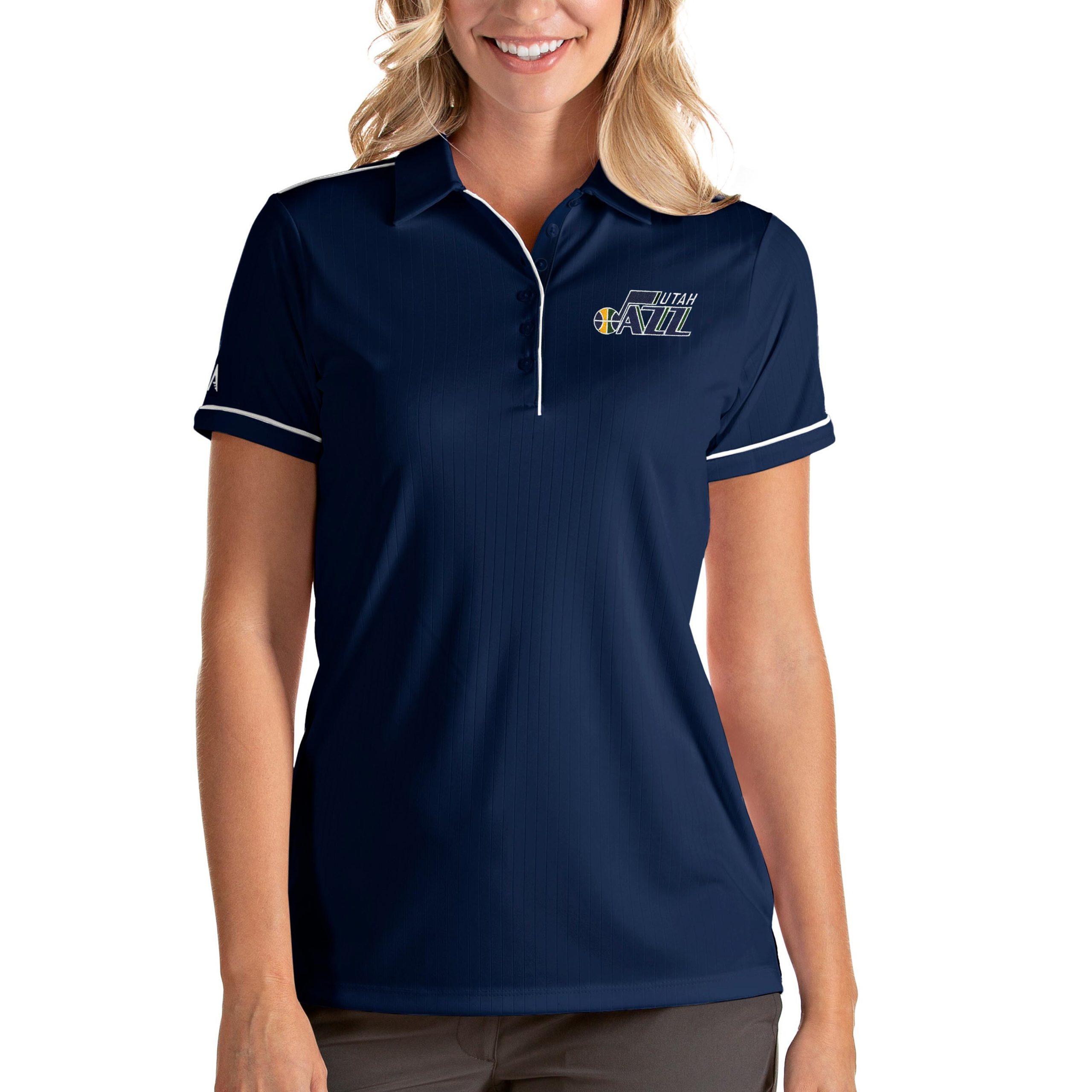 Utah Jazz Antigua Women's Salute Polo - Navy/White