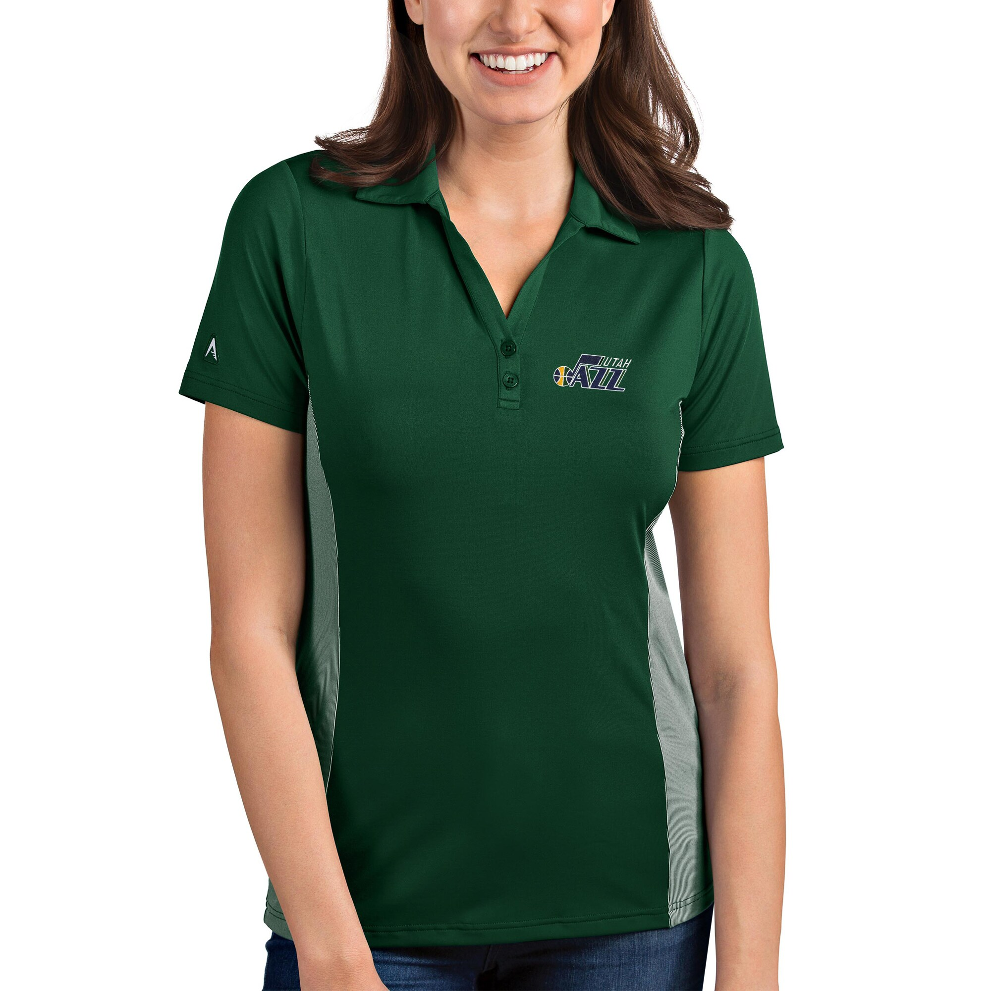 Utah Jazz Antigua Women's Venture Polo - Green/White