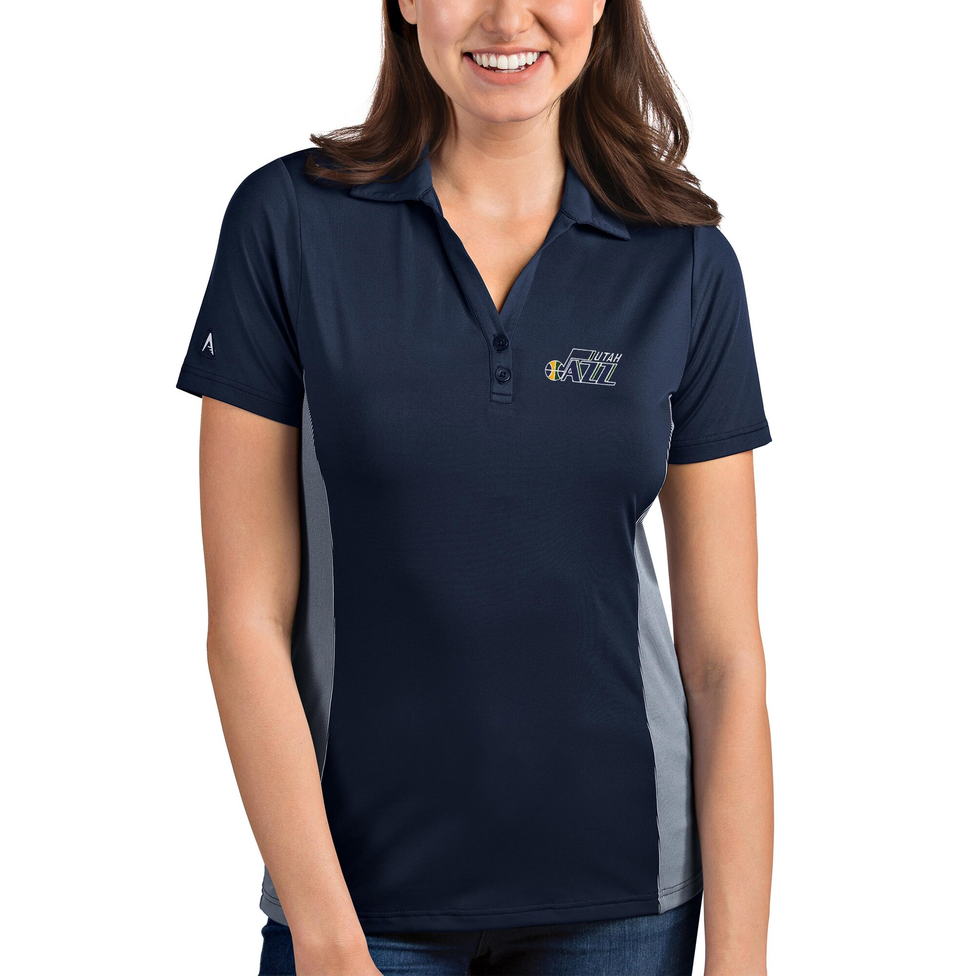 Utah Jazz Antigua Women's Venture Polo - Navy/White