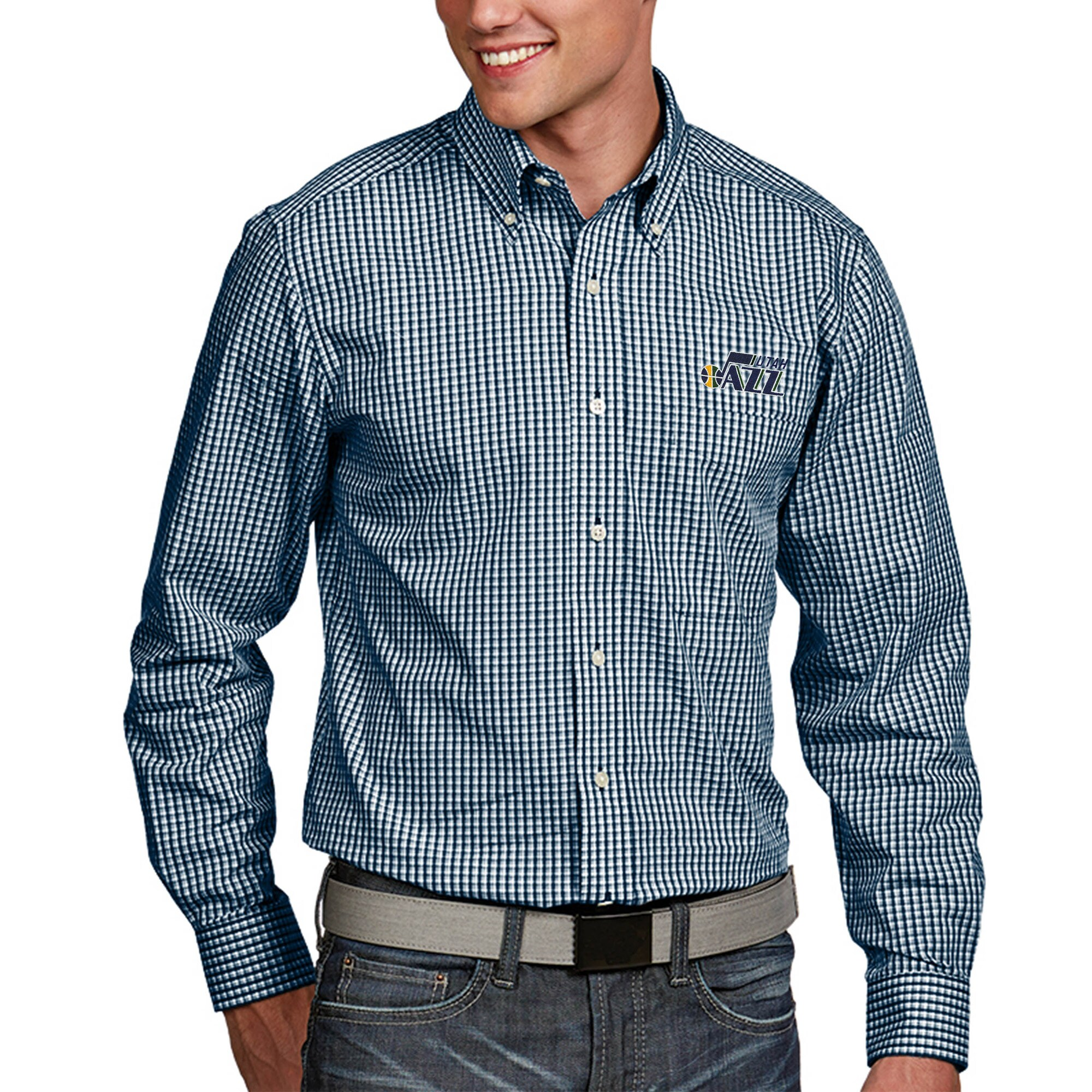 Utah Jazz Antigua Associate Big & Tall Woven Long Sleeve Button-Down Shirt - Navy
