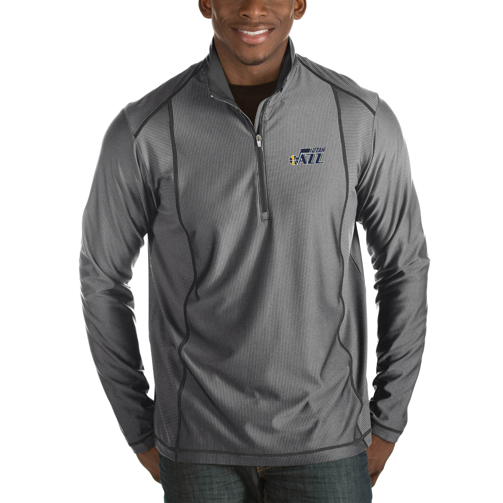 Utah Jazz Antigua Tempo Big & Tall Half-Zip Pullover Jacket - Charcoal