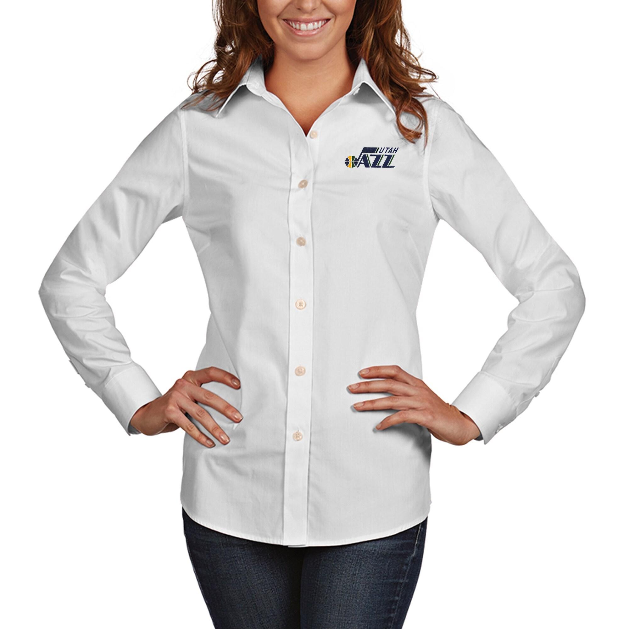 Utah Jazz Antigua Women's Dynasty Woven Button-Up Long Sleeve Shirt - White