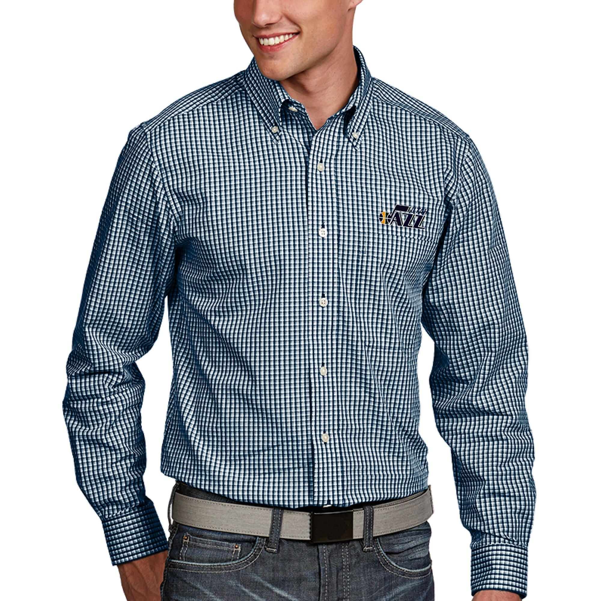 Utah Jazz Antigua Associate Button-Down Long Sleeve Shirt - Navy
