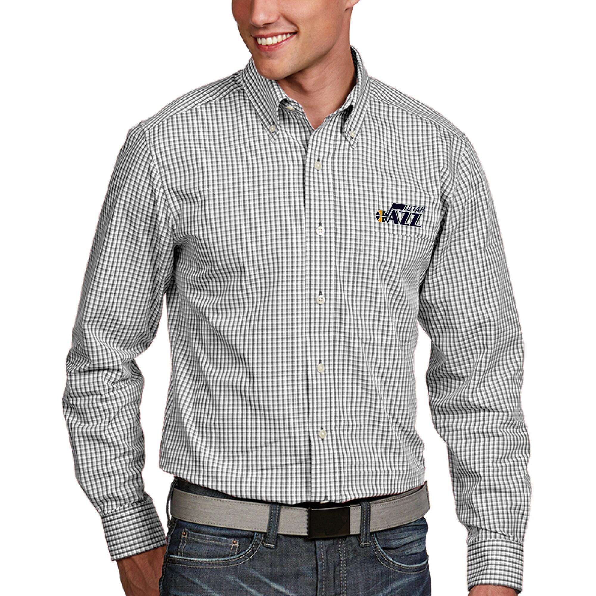 Utah Jazz Antigua Associate Button-Down Long Sleeve Shirt - White