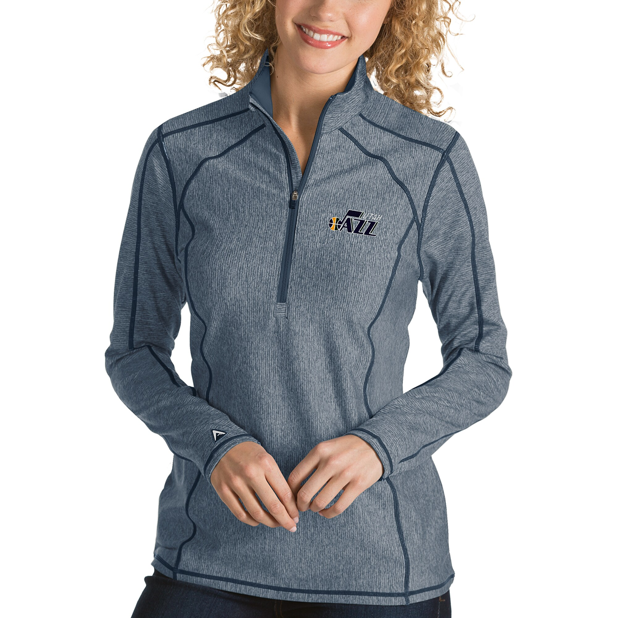 Utah Jazz Antigua Women's Tempo Half-Zip Pullover Jacket - Heather Navy