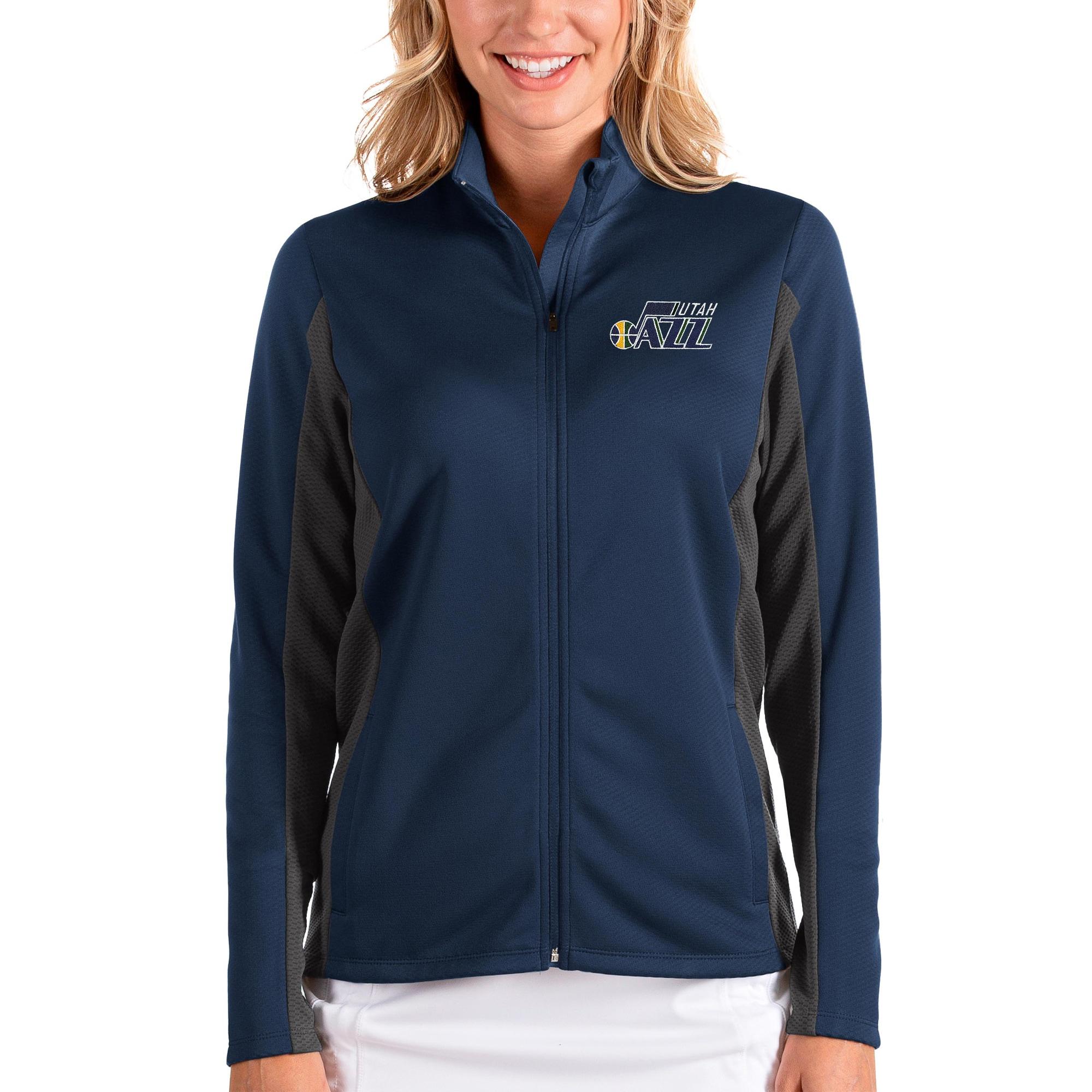 Utah Jazz Antigua Women's Passage Full-Zip Jacket - Navy/Charcoal