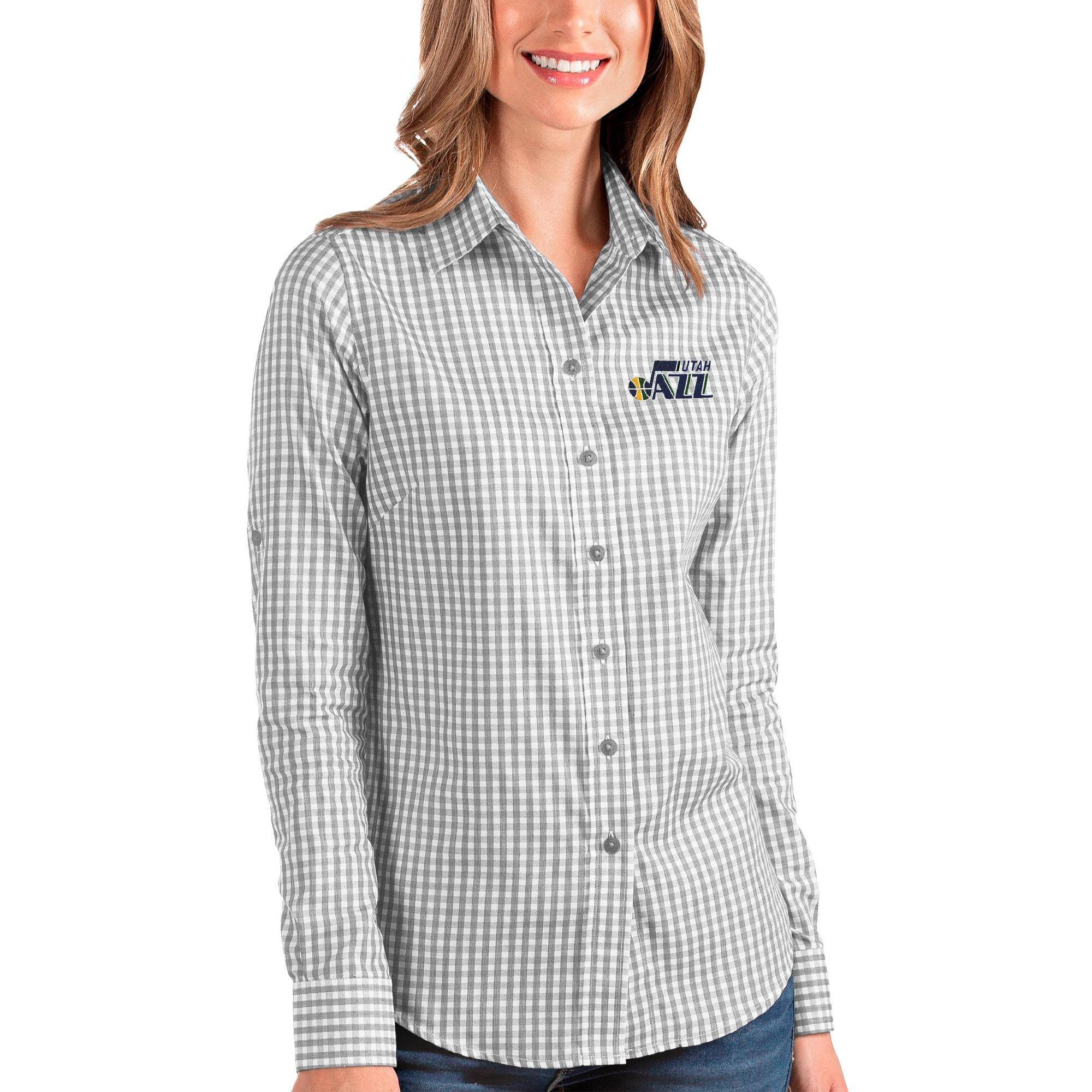 Utah Jazz Antigua Women's Structure Button-Up Long Sleeve Shirt - Charcoal/White