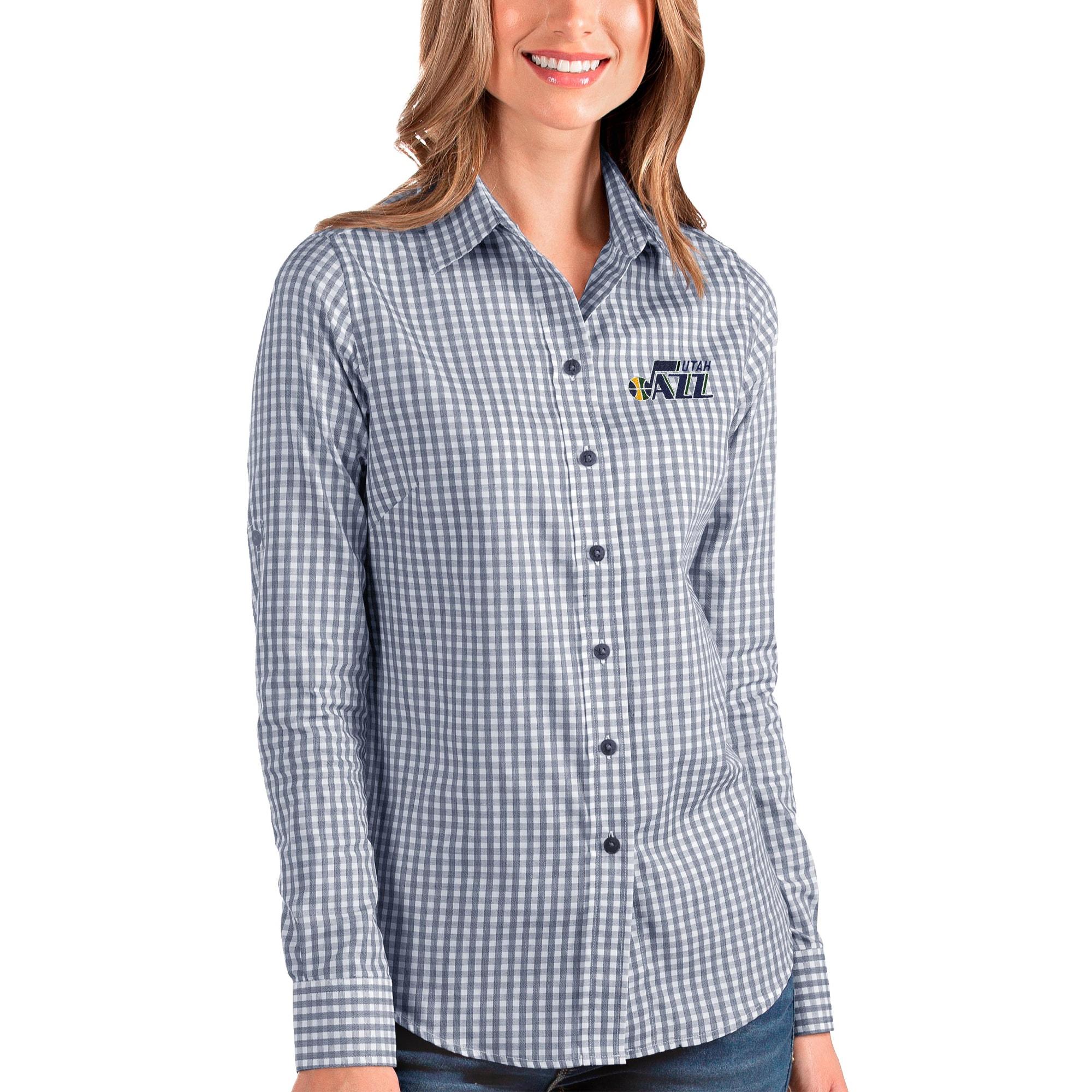 Utah Jazz Antigua Women's Structure Button-Up Long Sleeve Shirt - Navy/White