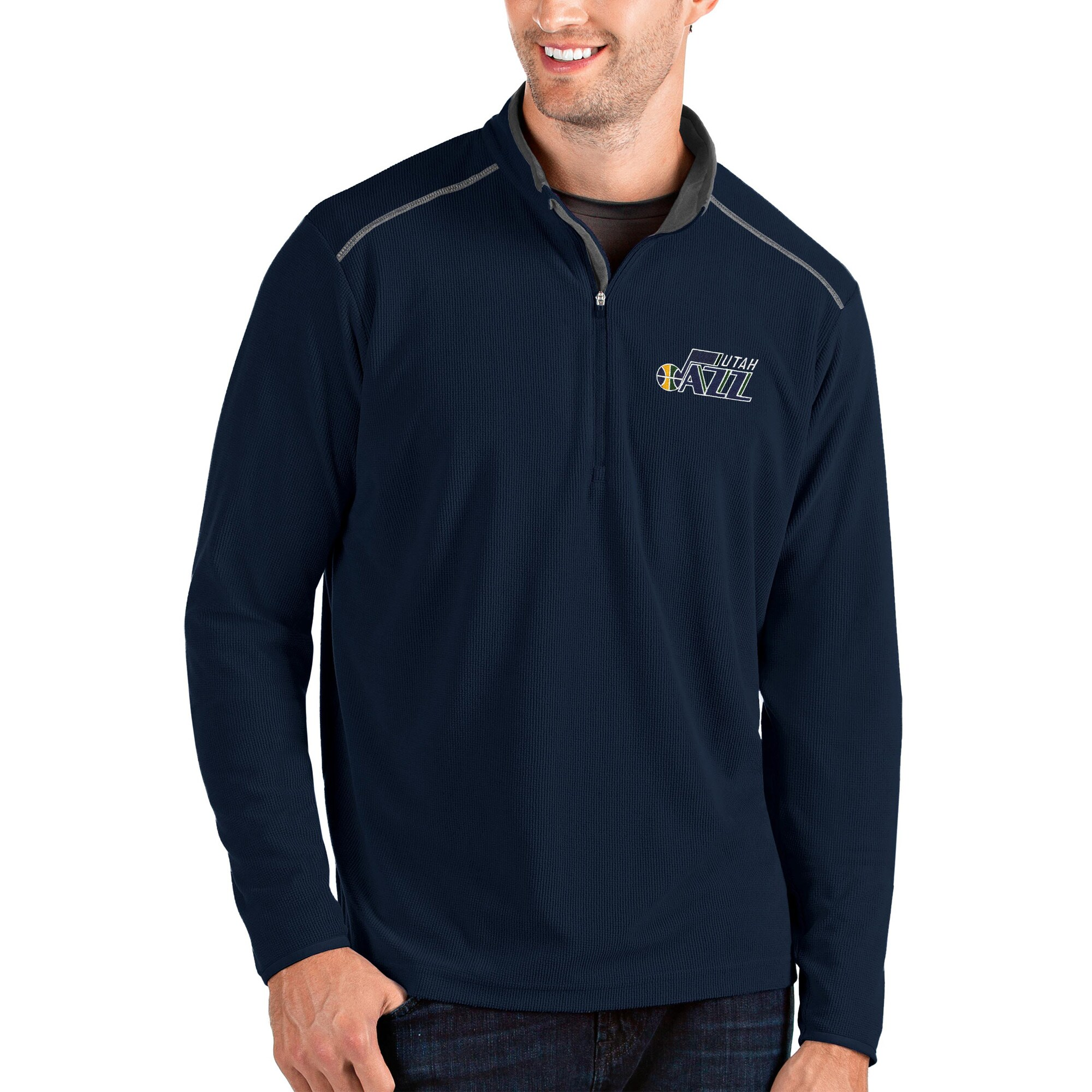 Utah Jazz Antigua Glacier Quarter-Zip Pullover Jacket - Navy/Gray