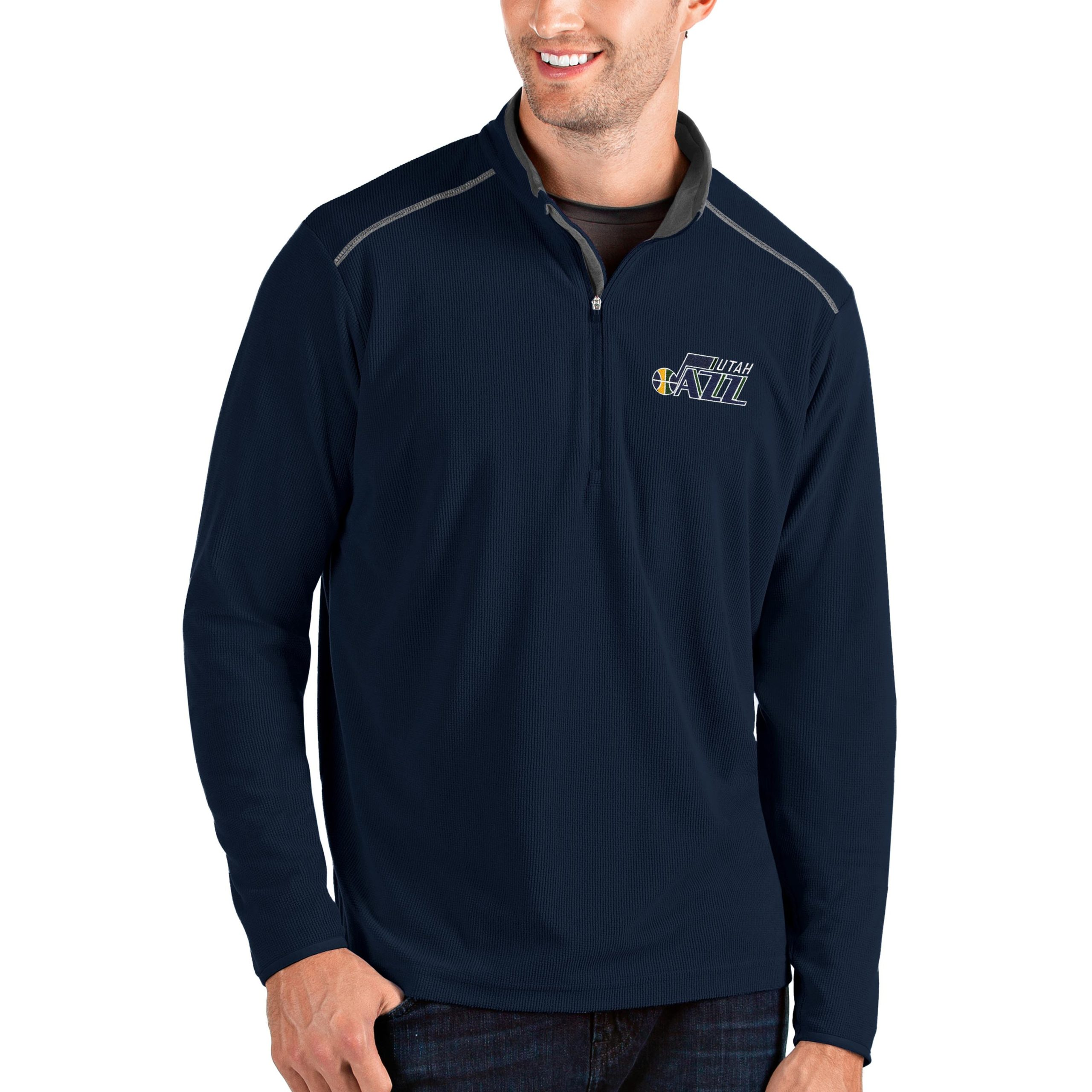 Utah Jazz Antigua Big & Tall Glacier Quarter-Zip Pullover Jacket - Navy/Gray