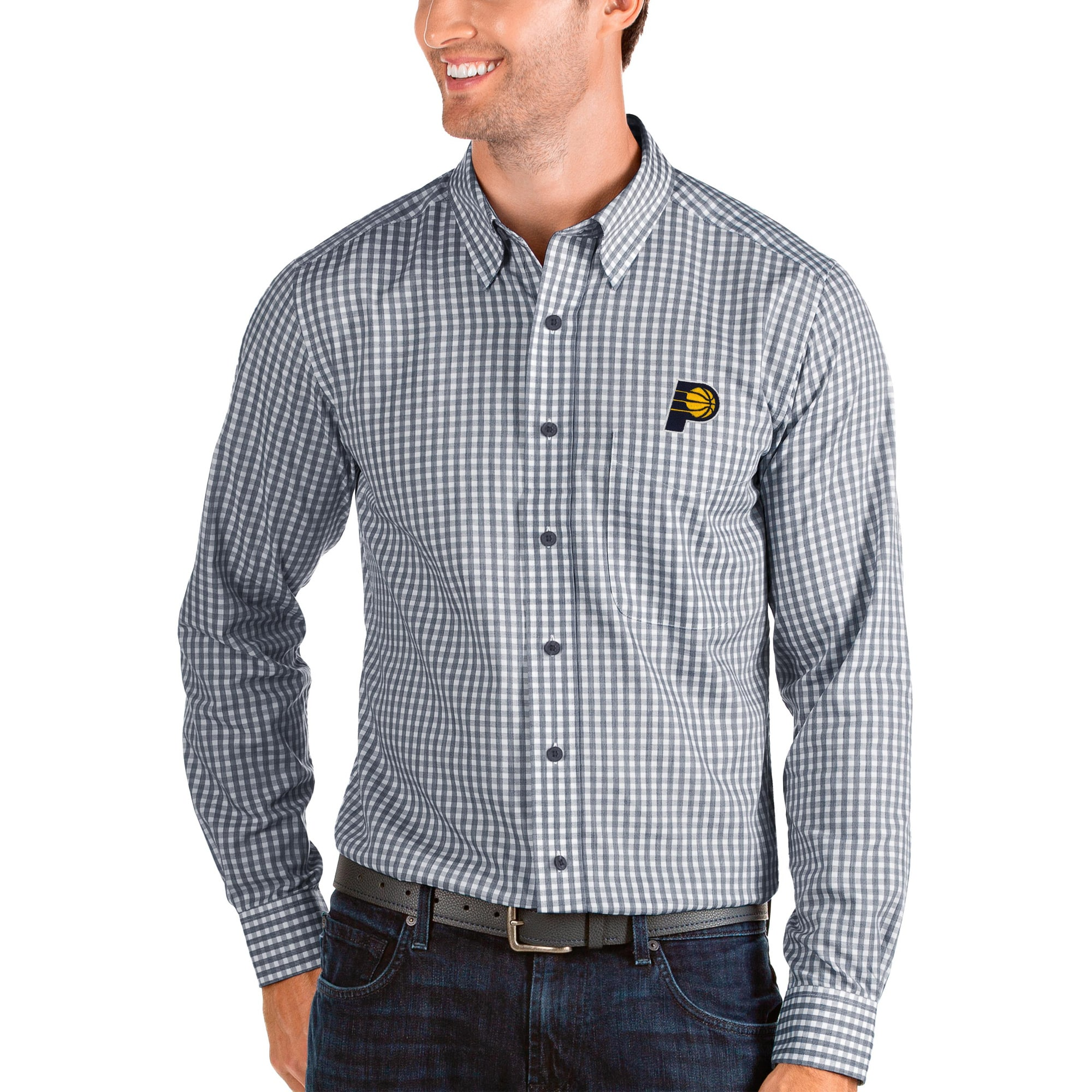 Indiana Pacers Antigua Structure Long Sleeve Button-Up Shirt - Navy/White
