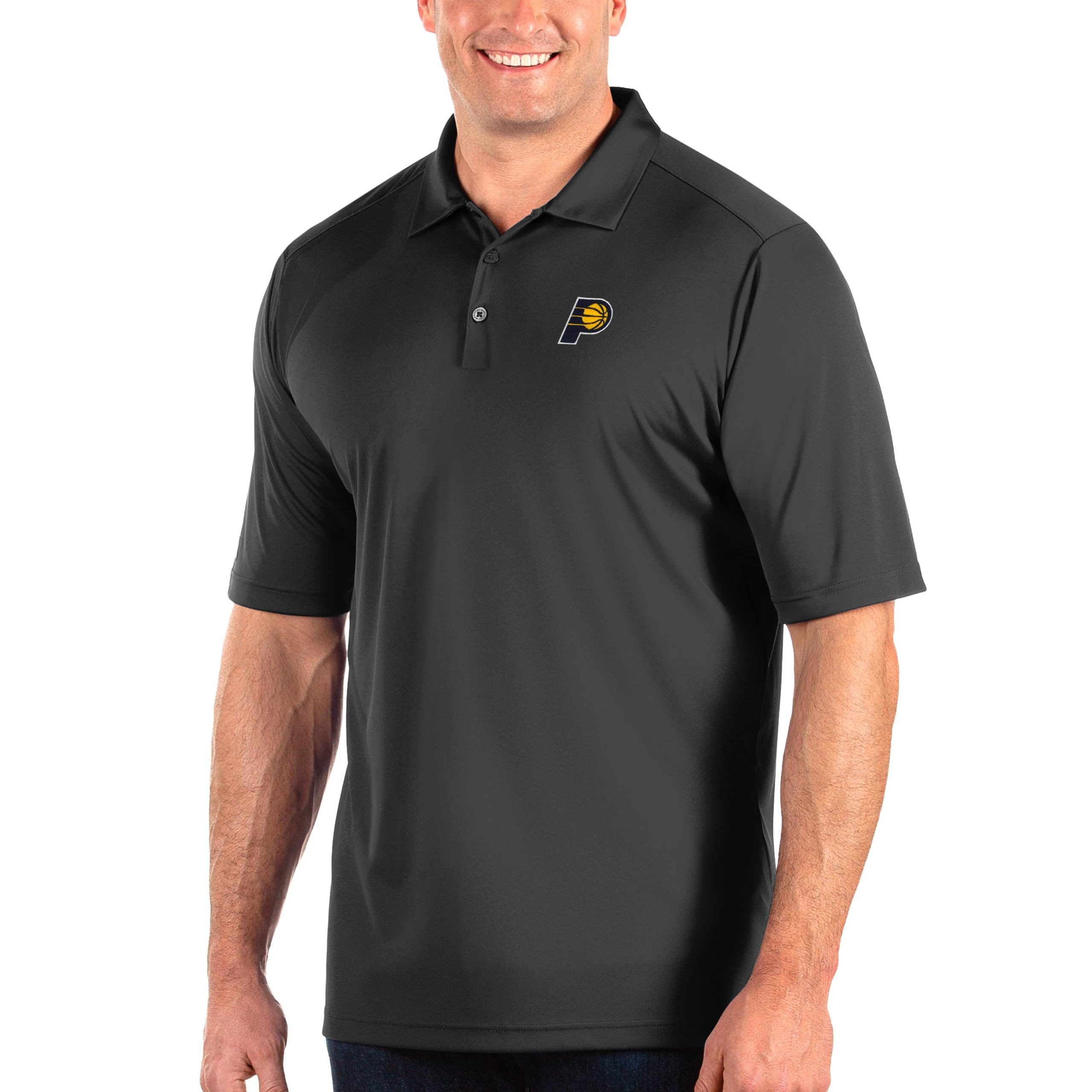 Indiana Pacers Antigua Big & Tall Tribute Polo - Charcoal