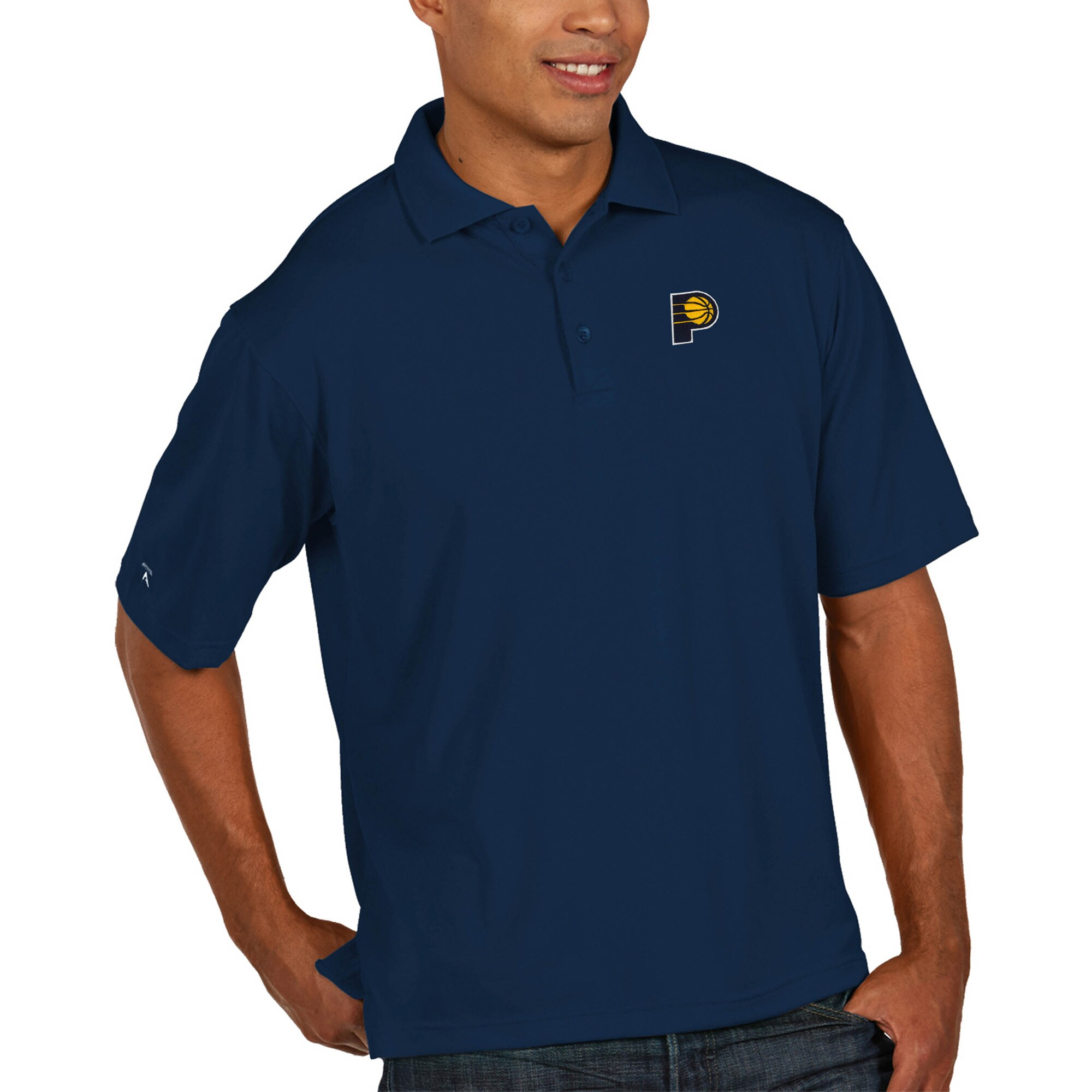 Indiana Pacers Antigua Pique Xtra Lite Big & Tall Polo - Navy