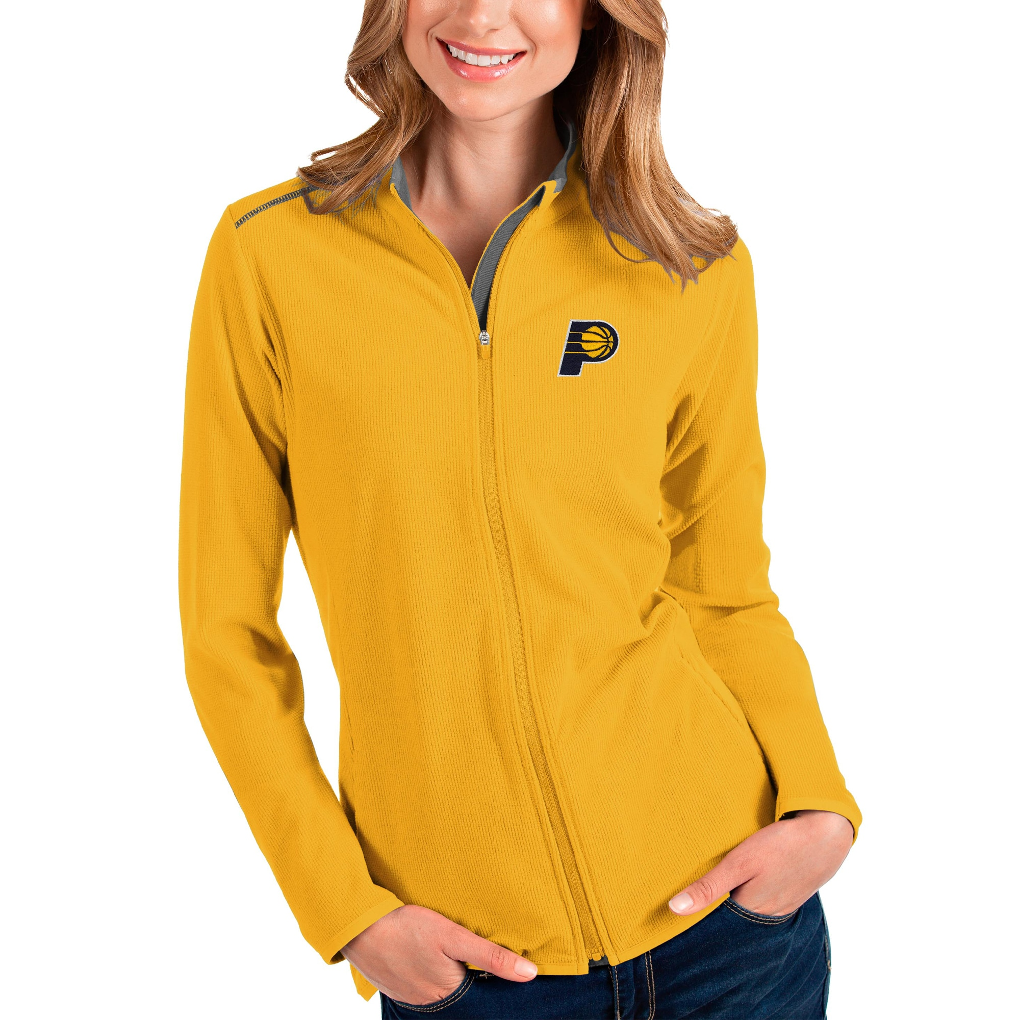Indiana Pacers Antigua Women's Glacier Full-Zip Jacket - Gold/Gray