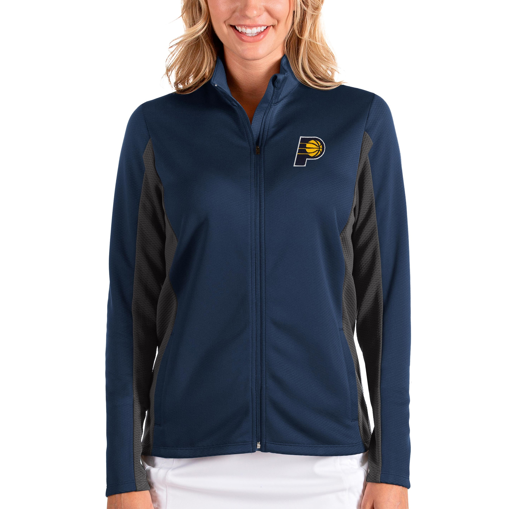 Indiana Pacers Antigua Women's Passage Full-Zip Jacket - Navy/Charcoal