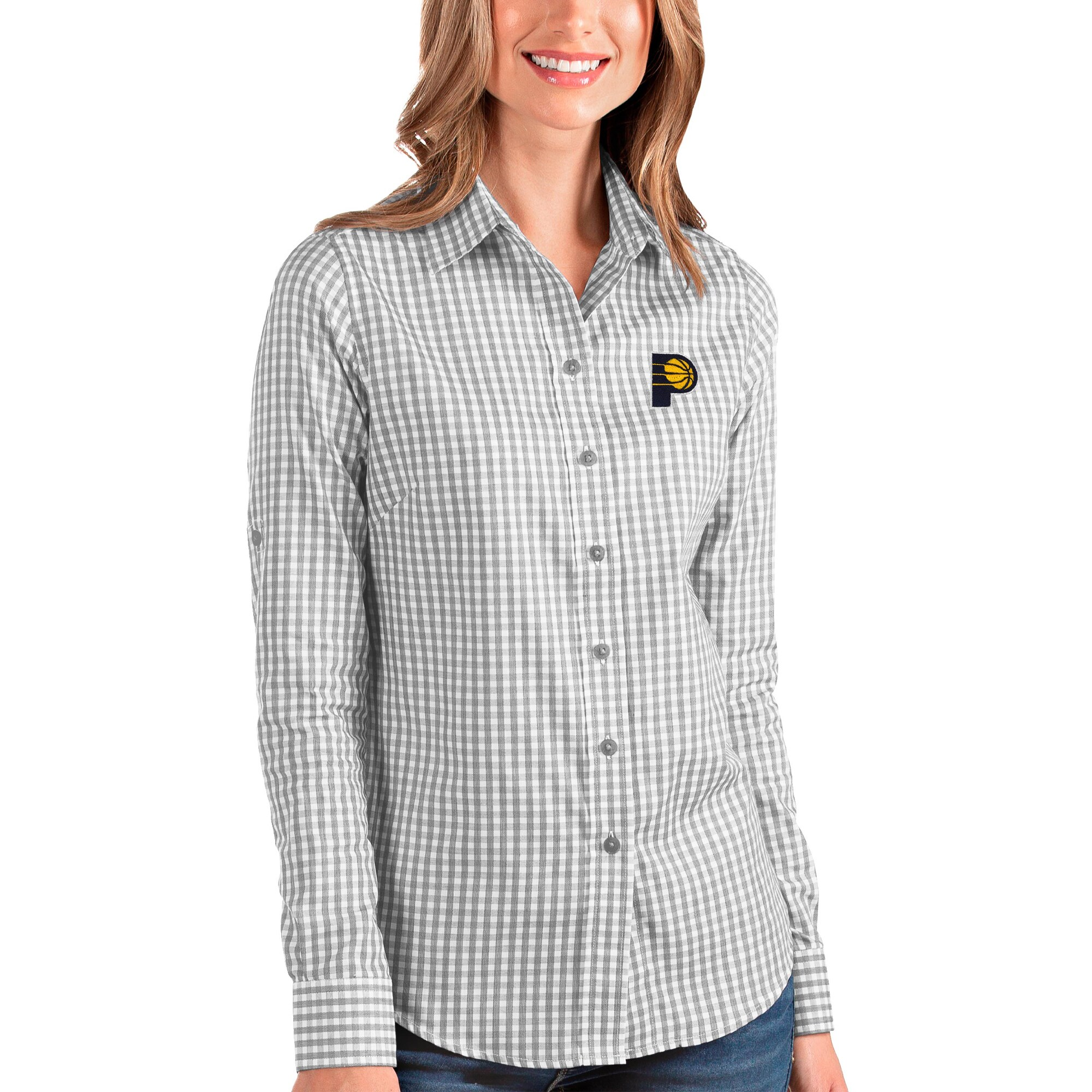 Indiana Pacers Antigua Women's Structure Button-Up Long Sleeve Shirt - Charcoal/White