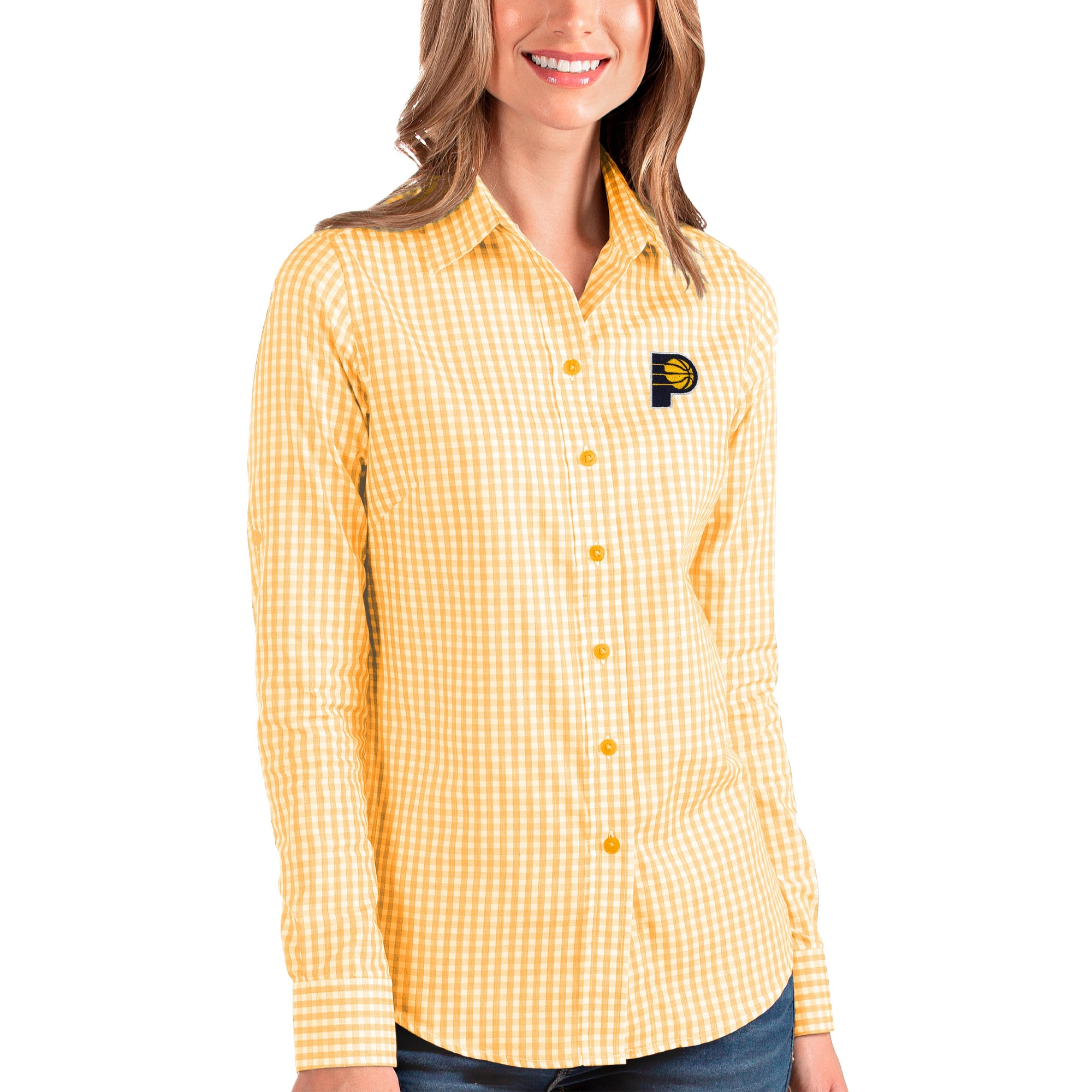 Indiana Pacers Antigua Women's Structure Button-Up Long Sleeve Shirt - Gold/White