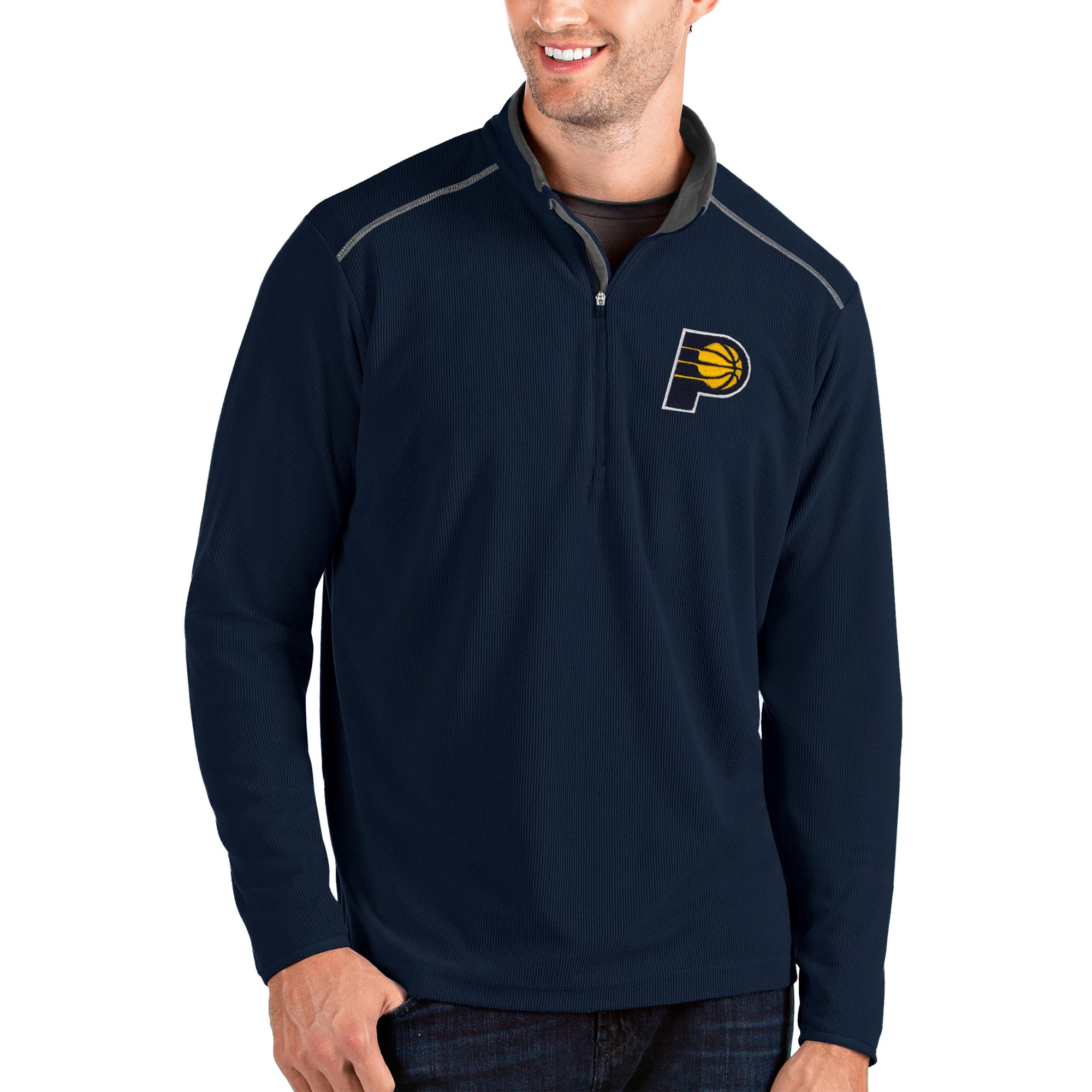 Indiana Pacers Antigua Glacier Quarter-Zip Pullover Jacket - Navy/Gray