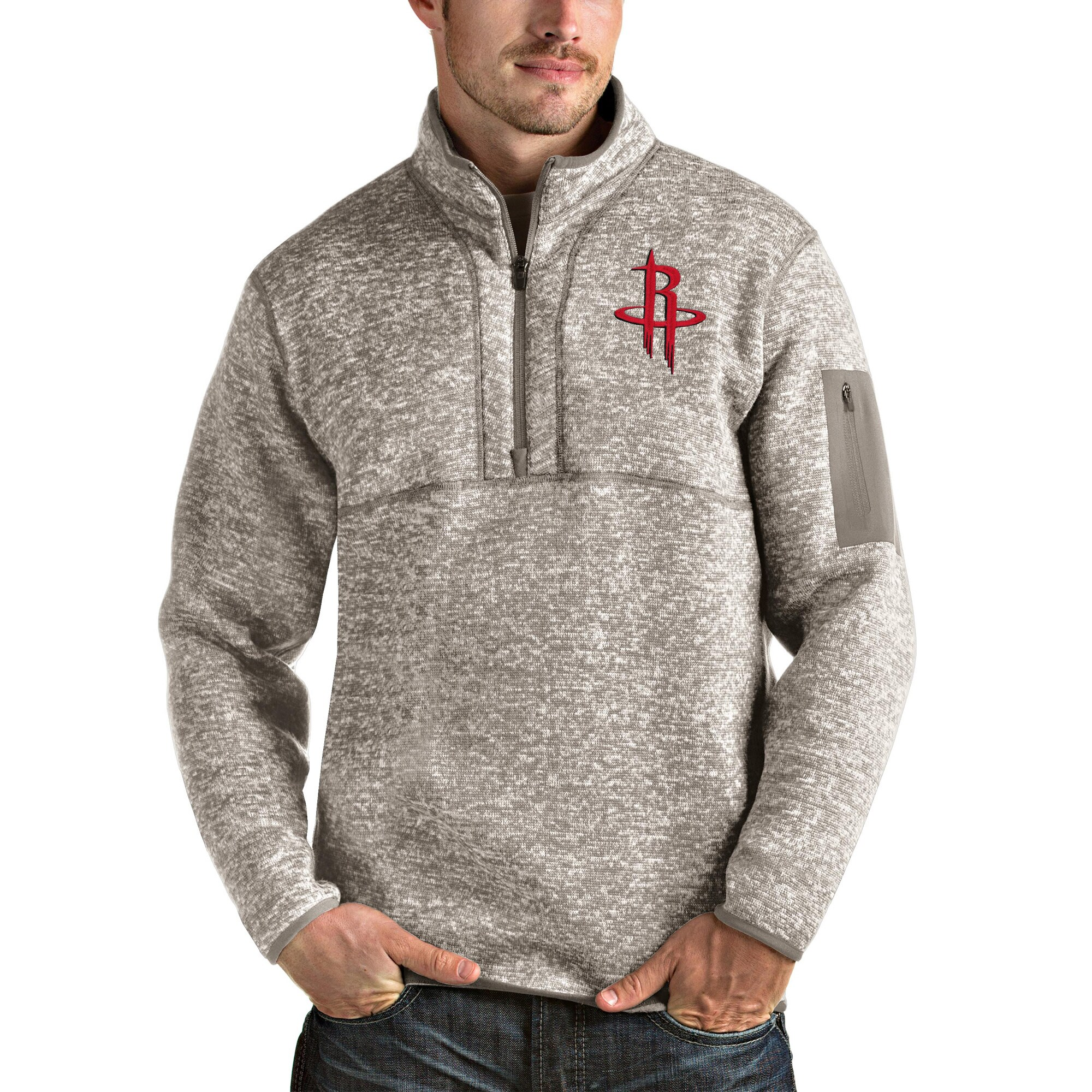 Houston Rockets Antigua Fortune Quarter-Zip Pullover Jacket - Natural