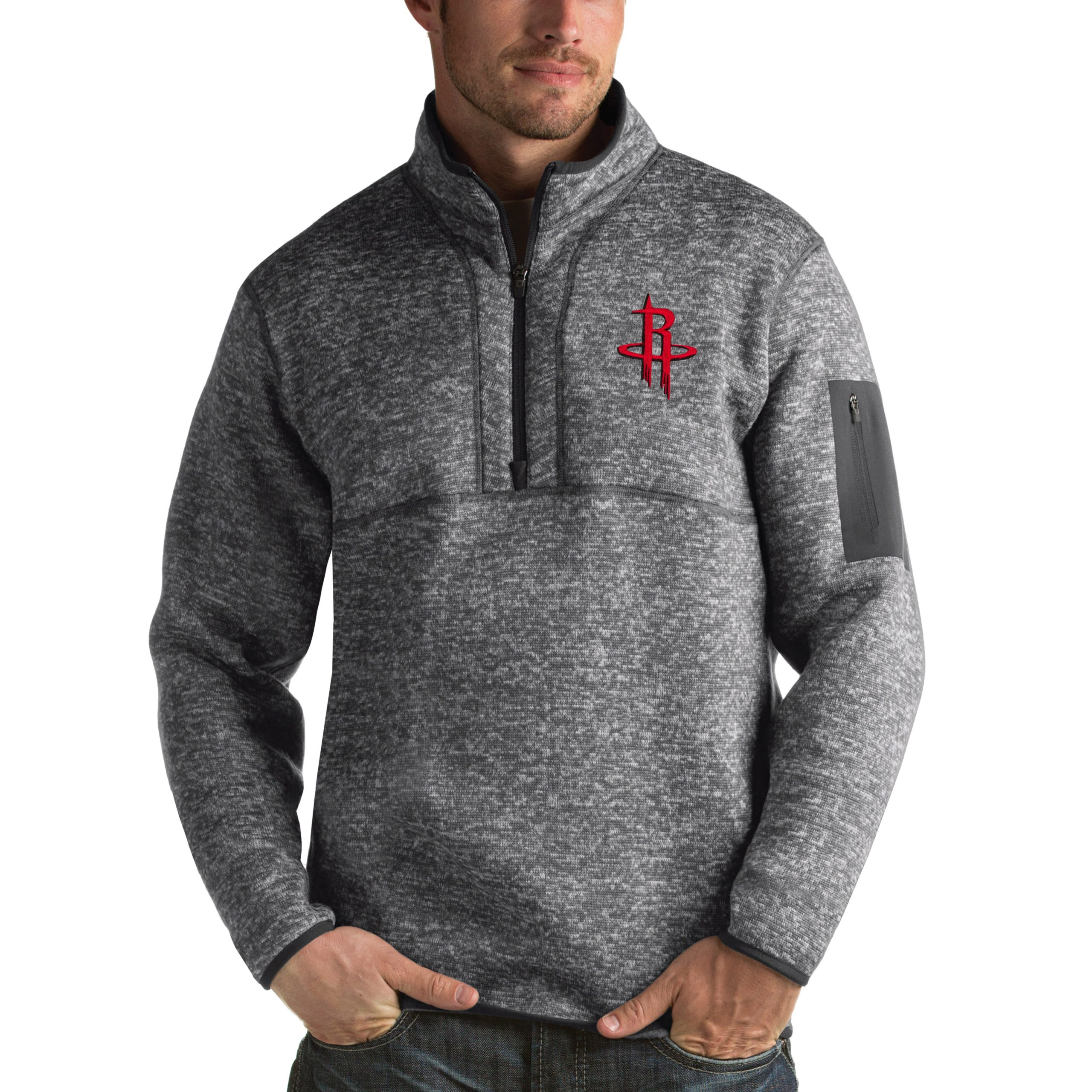 Houston Rockets Antigua Fortune 1/2-Zip Pullover Jacket - Heathered Black