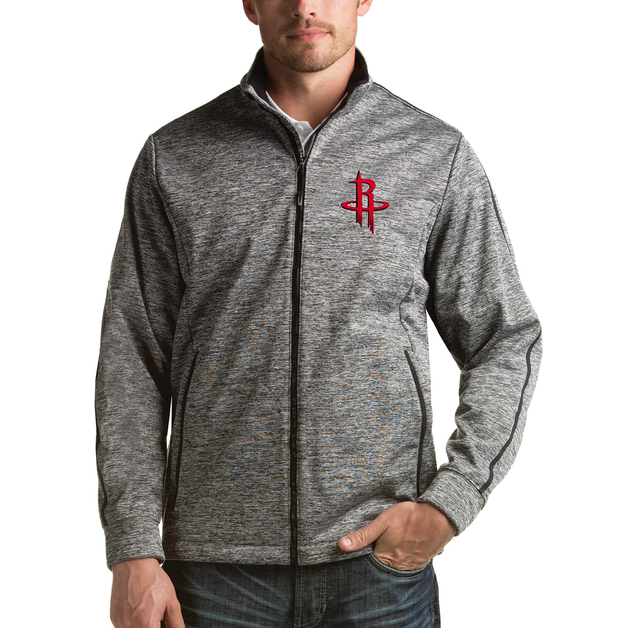 Houston Rockets Antigua Golf Full Zip Jacket - Heathered Black