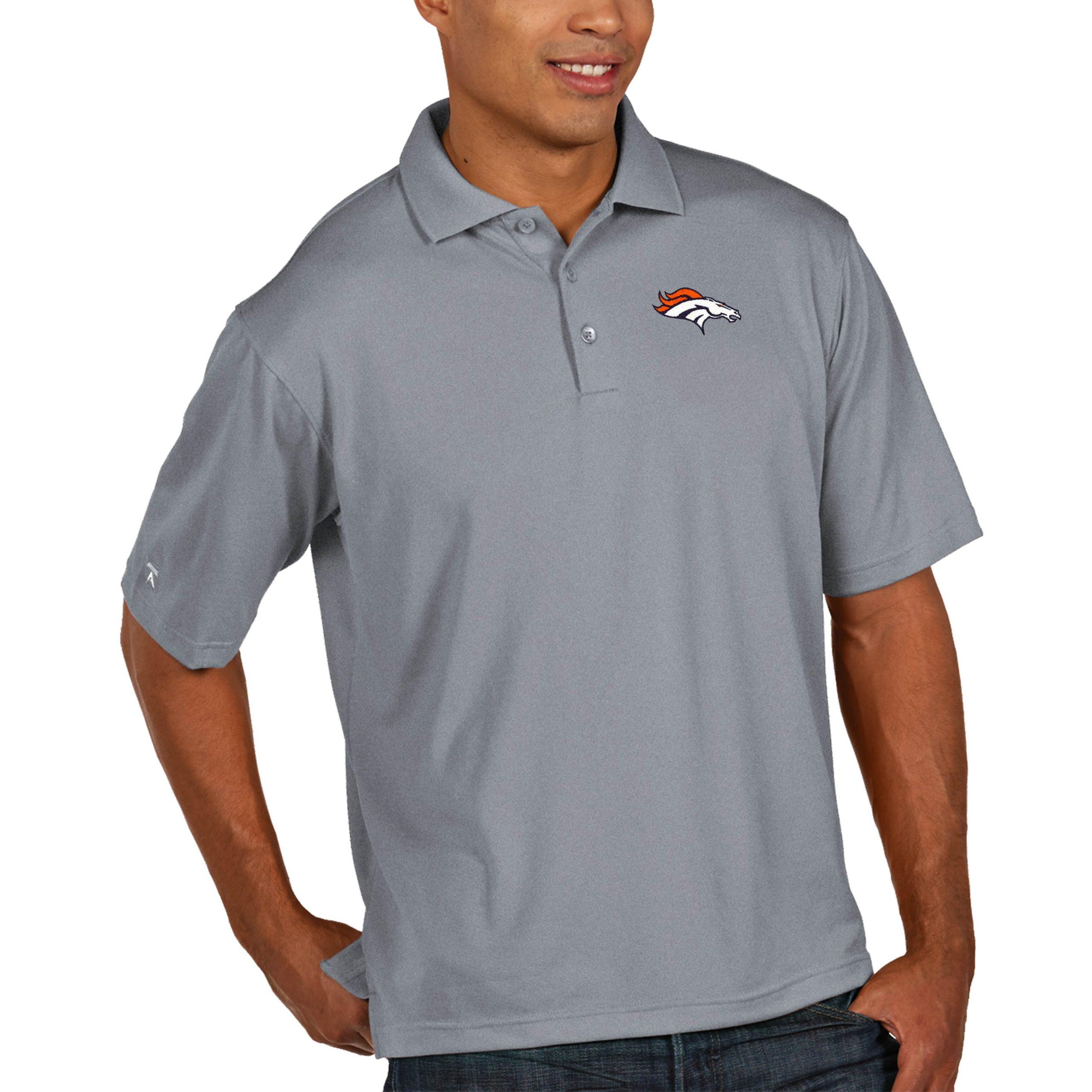 Denver Broncos Antigua Pique Xtra Lite Big & Tall Polo - Heather Gray