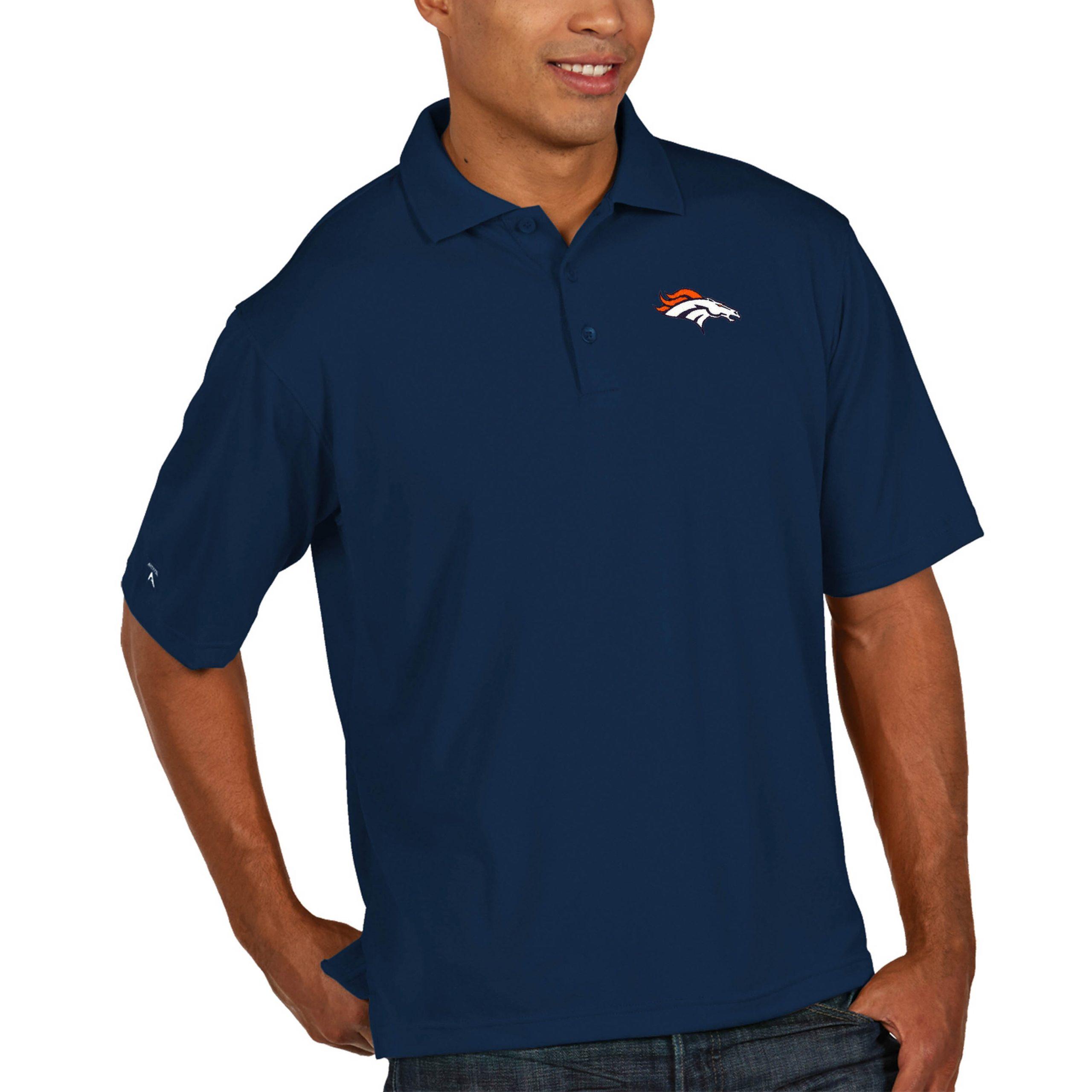 Denver Broncos Antigua Pique Xtra Lite Big & Tall Polo - Navy