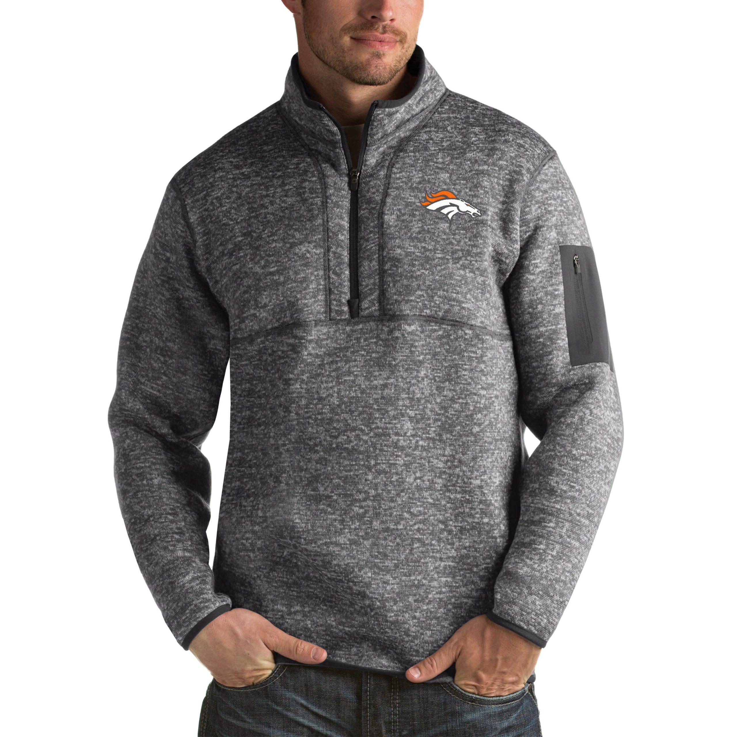 Denver Broncos Antigua Fortune Big & Tall Quarter-Zip Pullover Jacket - Charcoal